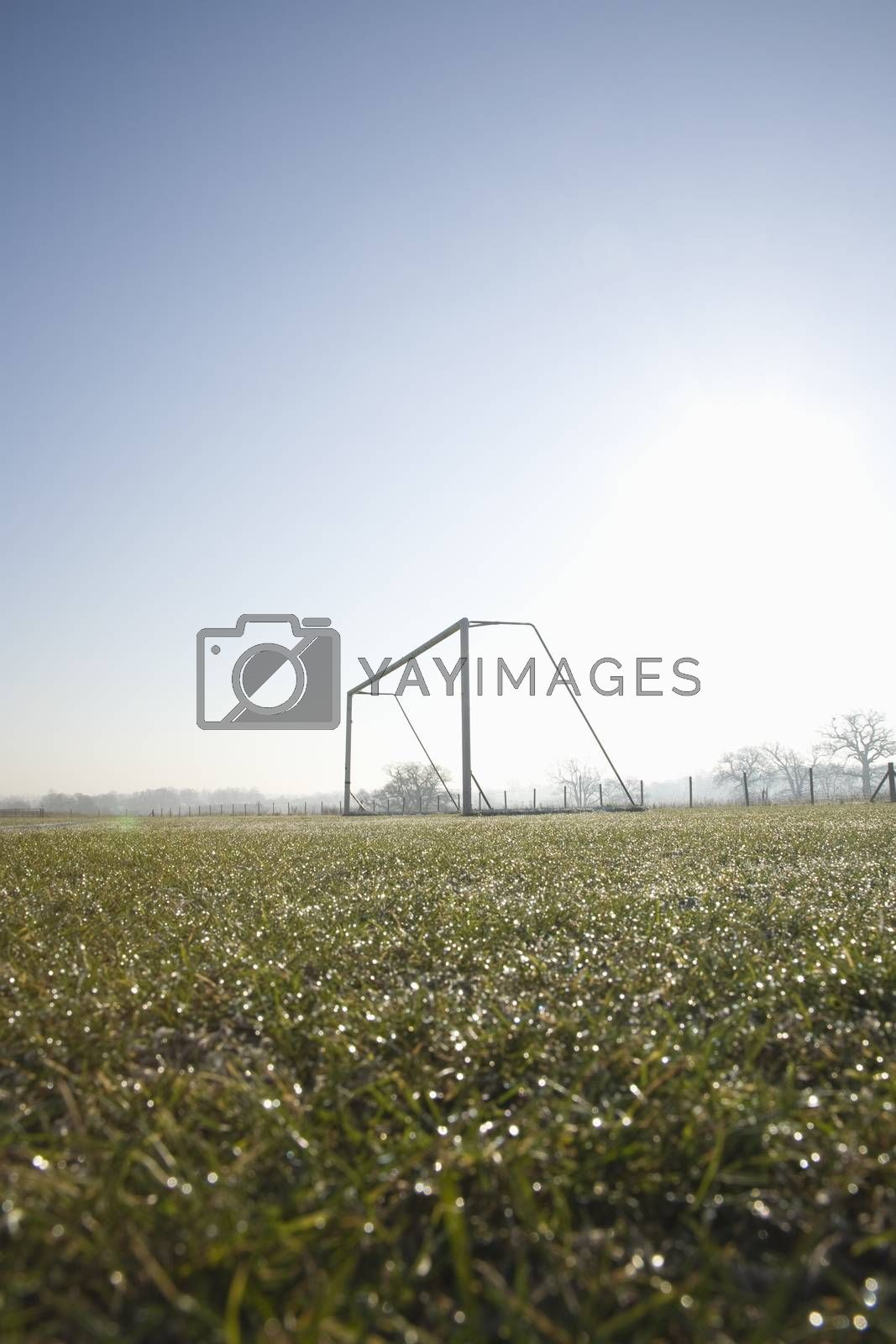 Royalty free image of empty football pitch and goal on a frosty winter morning sunrise by littlebloke