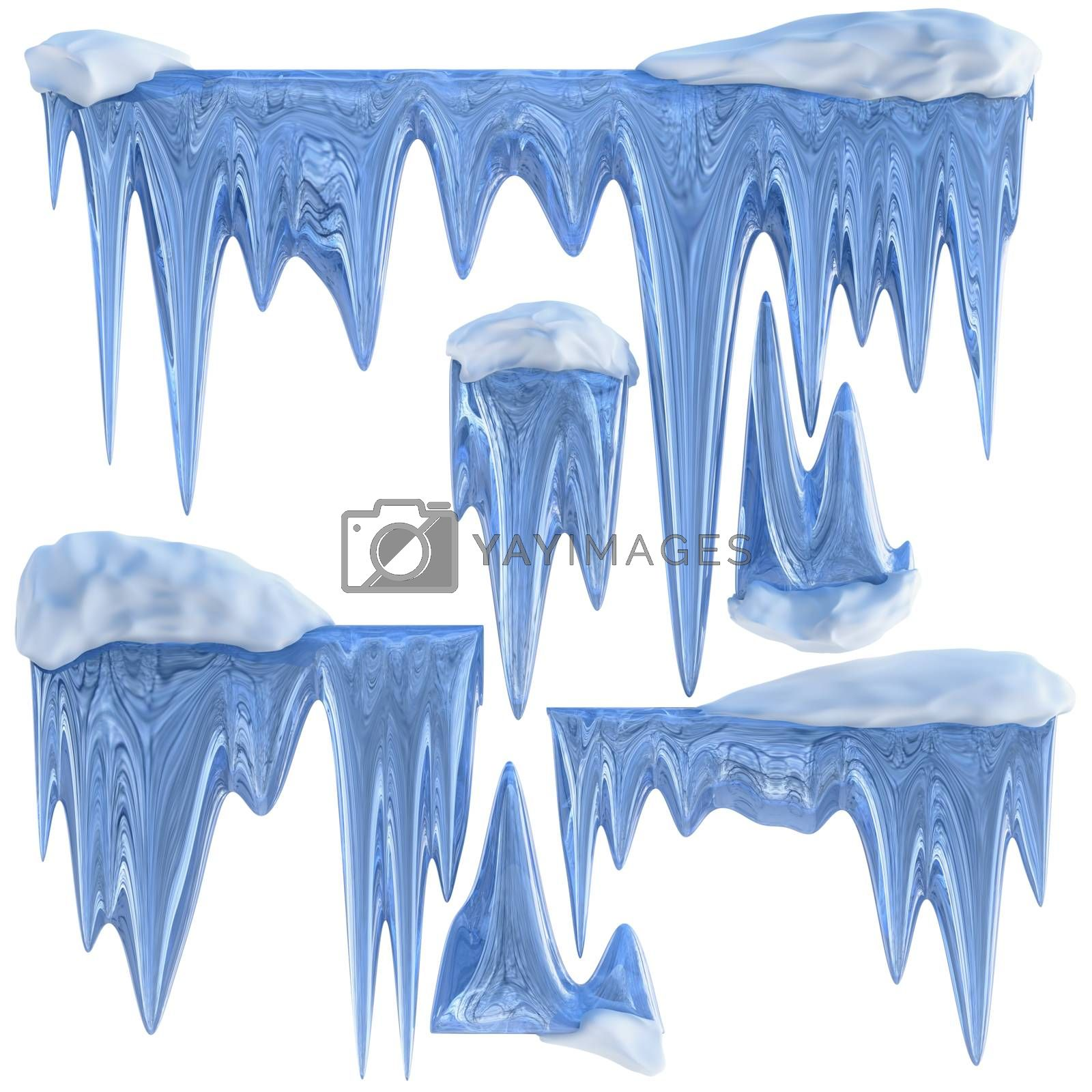 set of hanging thawing icicles of a blue shade by merzavka