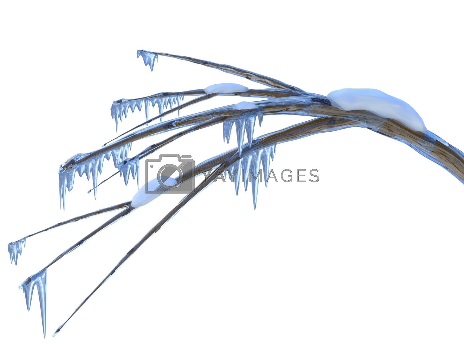 Frozen branch of a tree with icicles and snow in icy winter season time