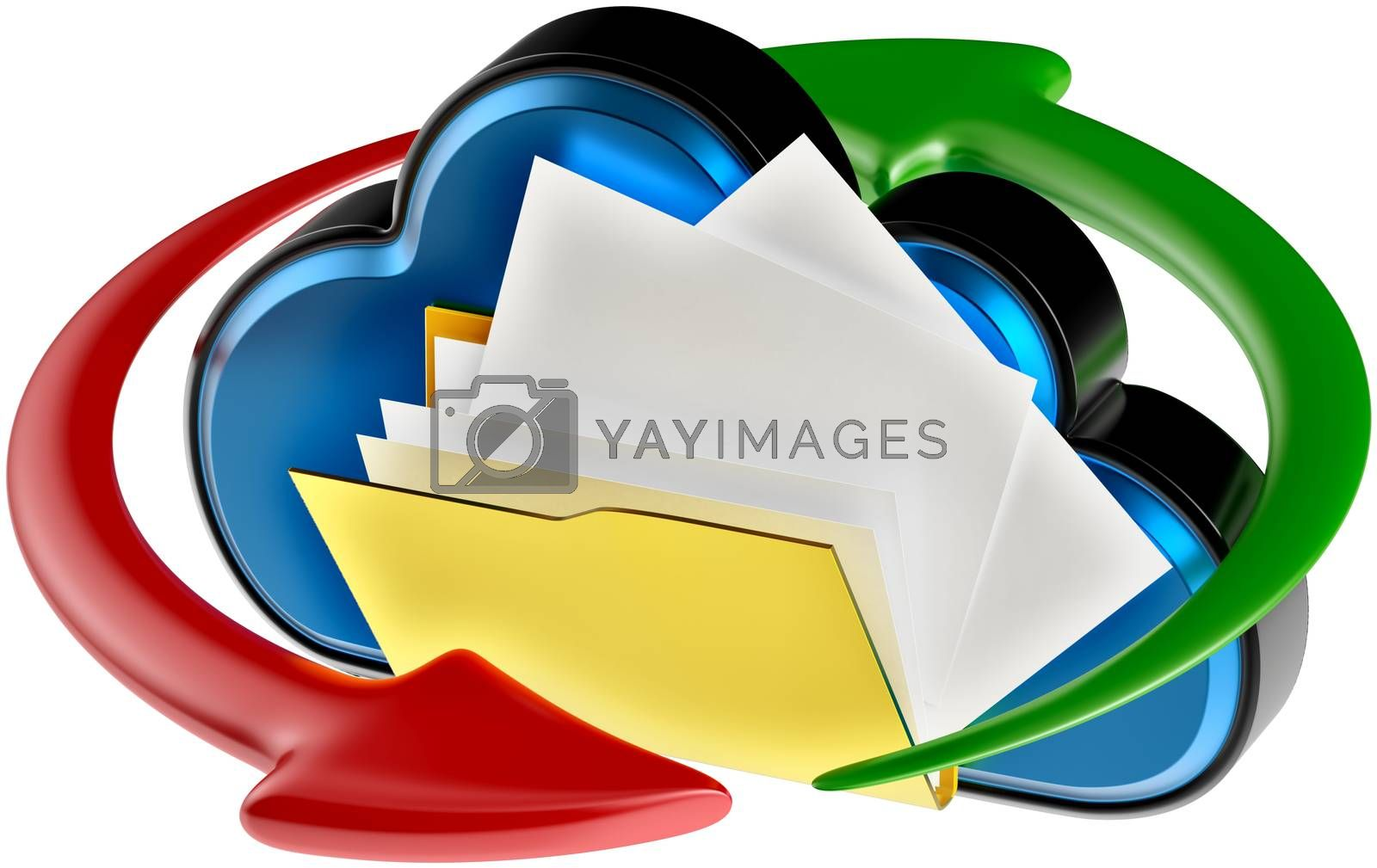 concept of cloud computing and circulation digital documents as is blue glossy cloud icon with folder and documents on white background