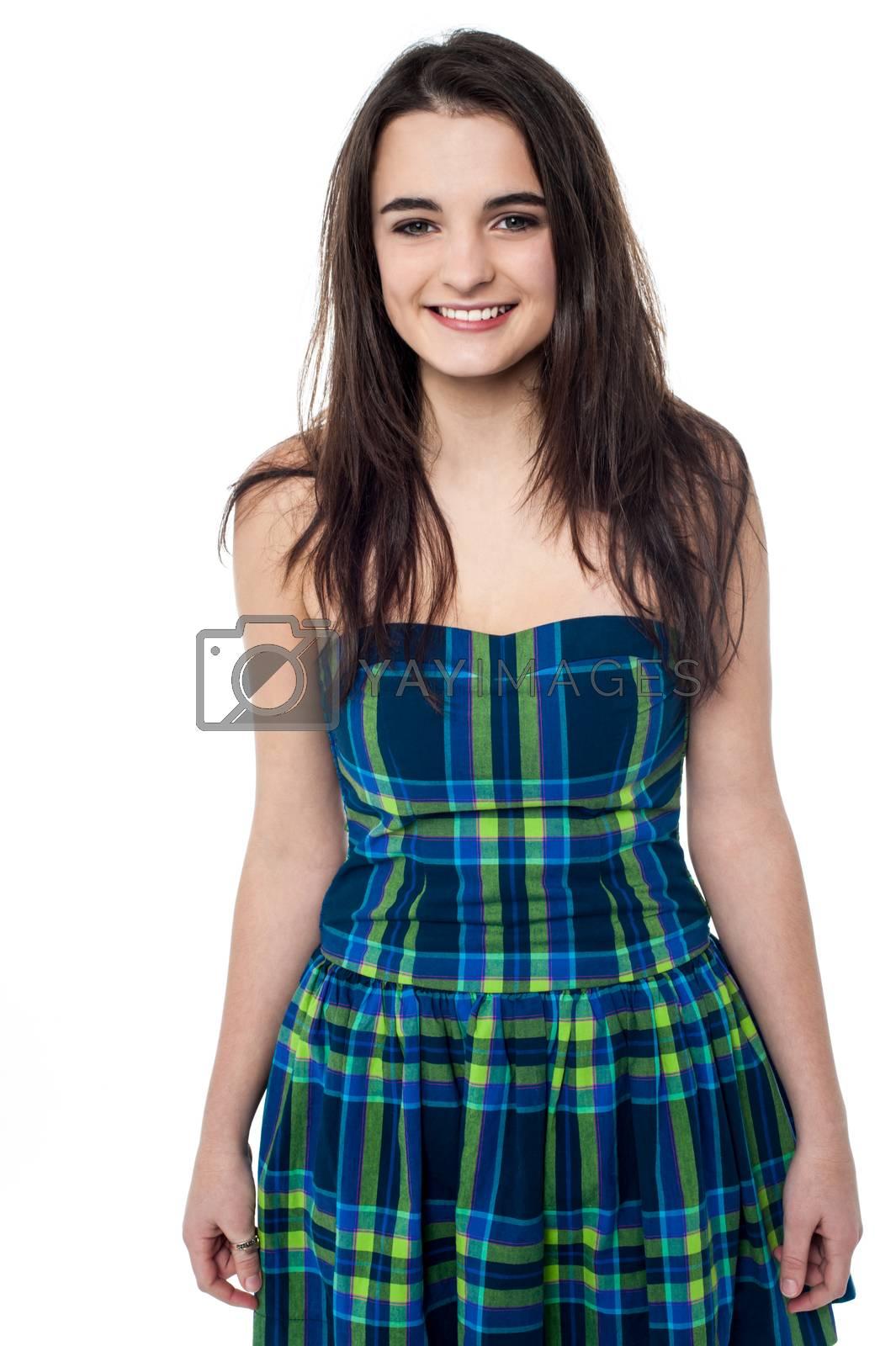 Glamorous happy teen in fashionable attire
