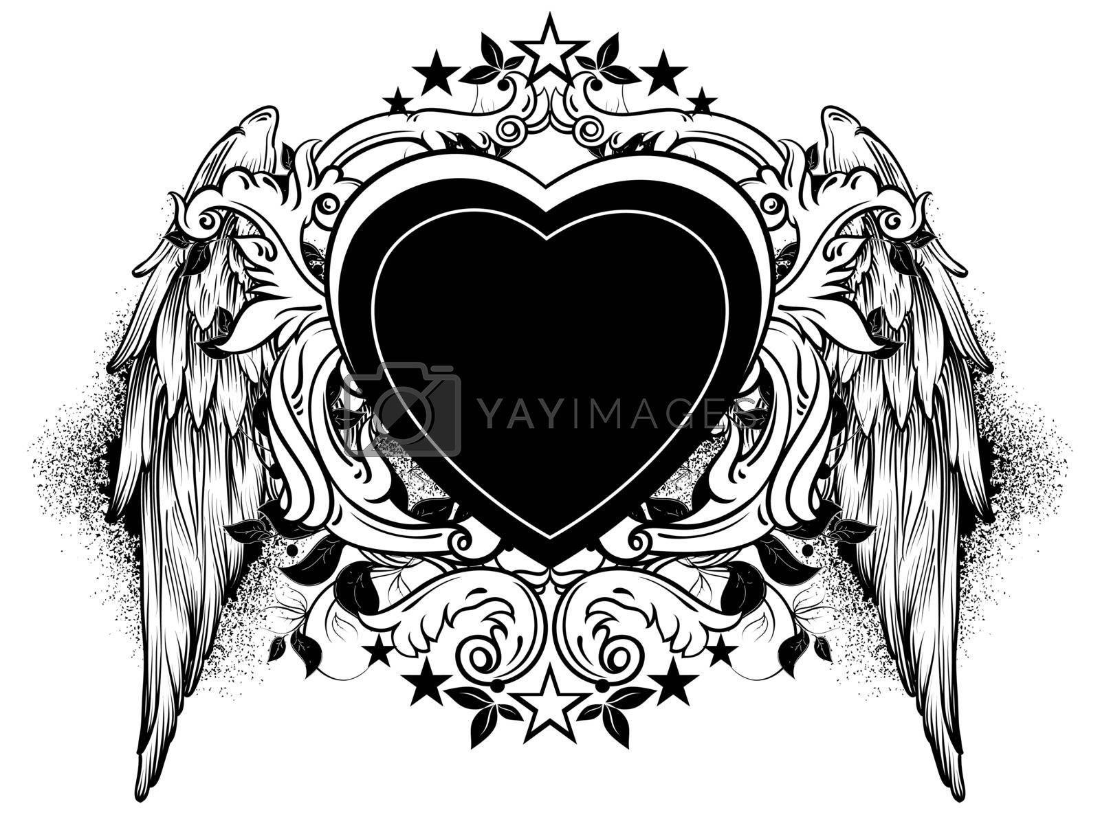black heart decorated with swirls and wings