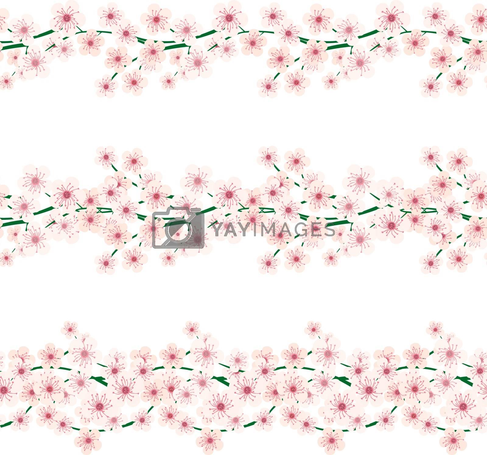 Set of three illustrated decorative floral borders