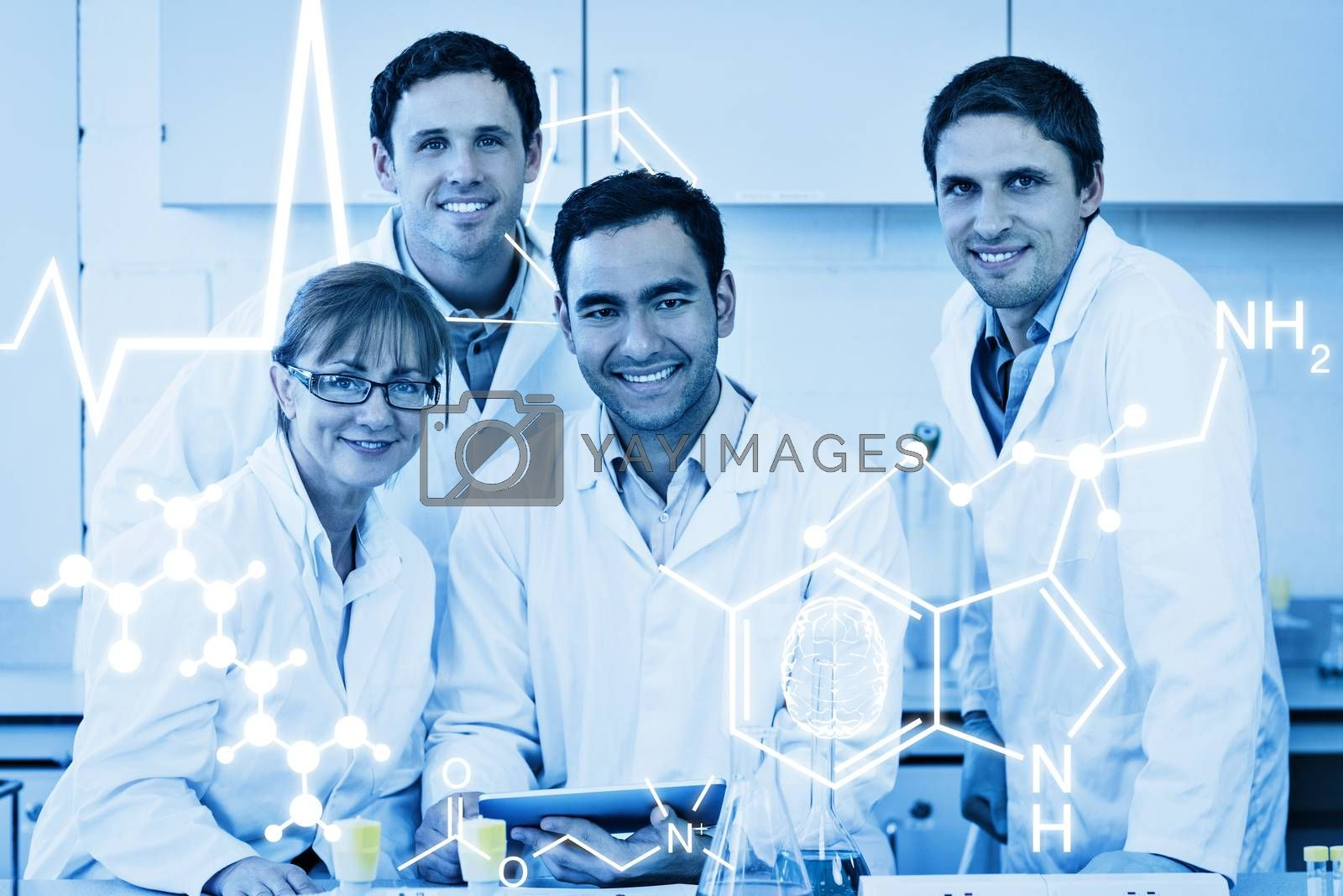 Science graphic against smiling scientists with tablet pc in the lab