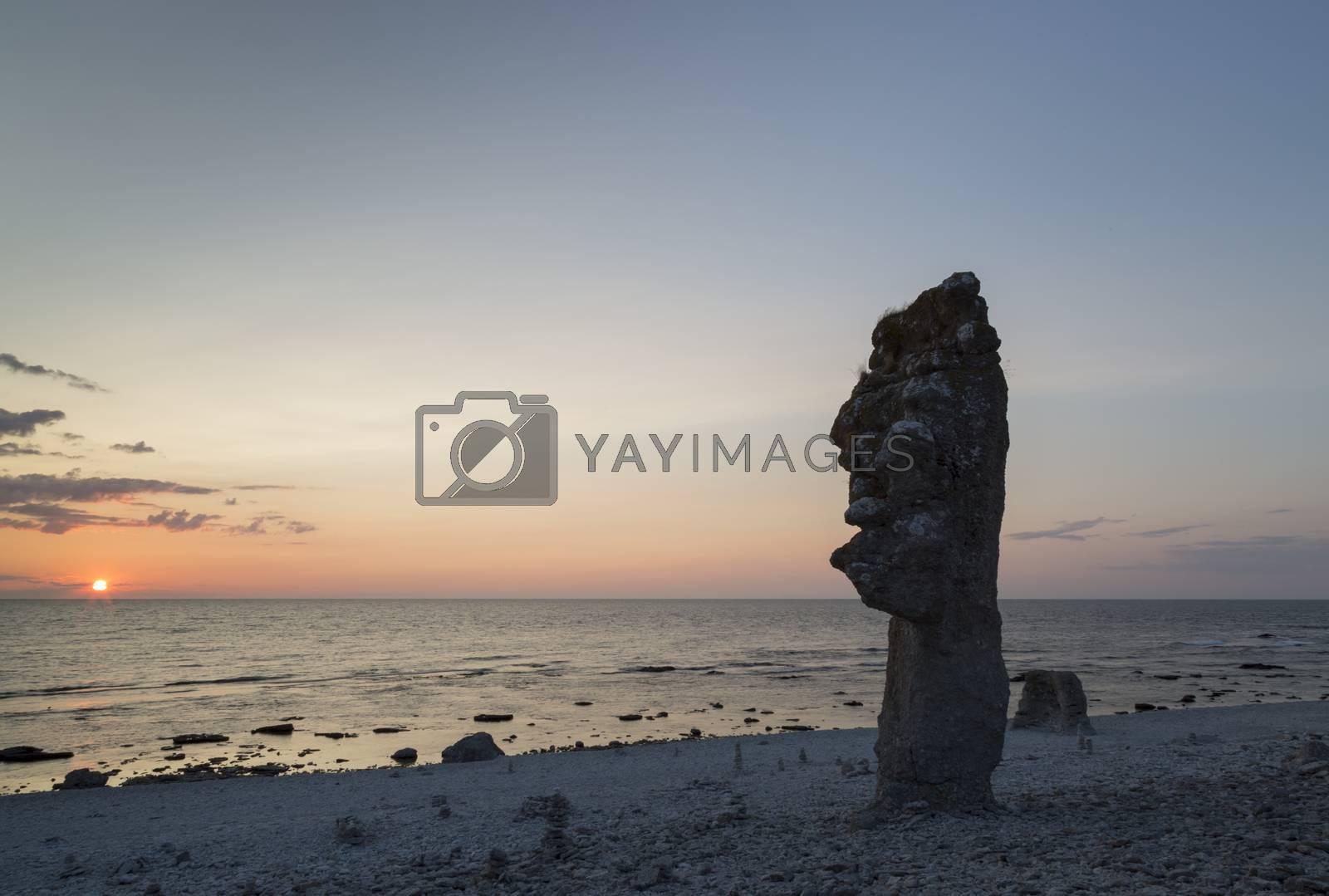 Sea Stack at Langhammar, Gotland in Sweden at sunset.