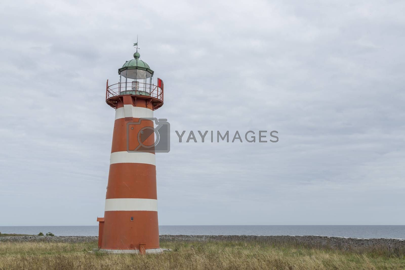 Red and White Lighthouse at Gotland, Sweden.