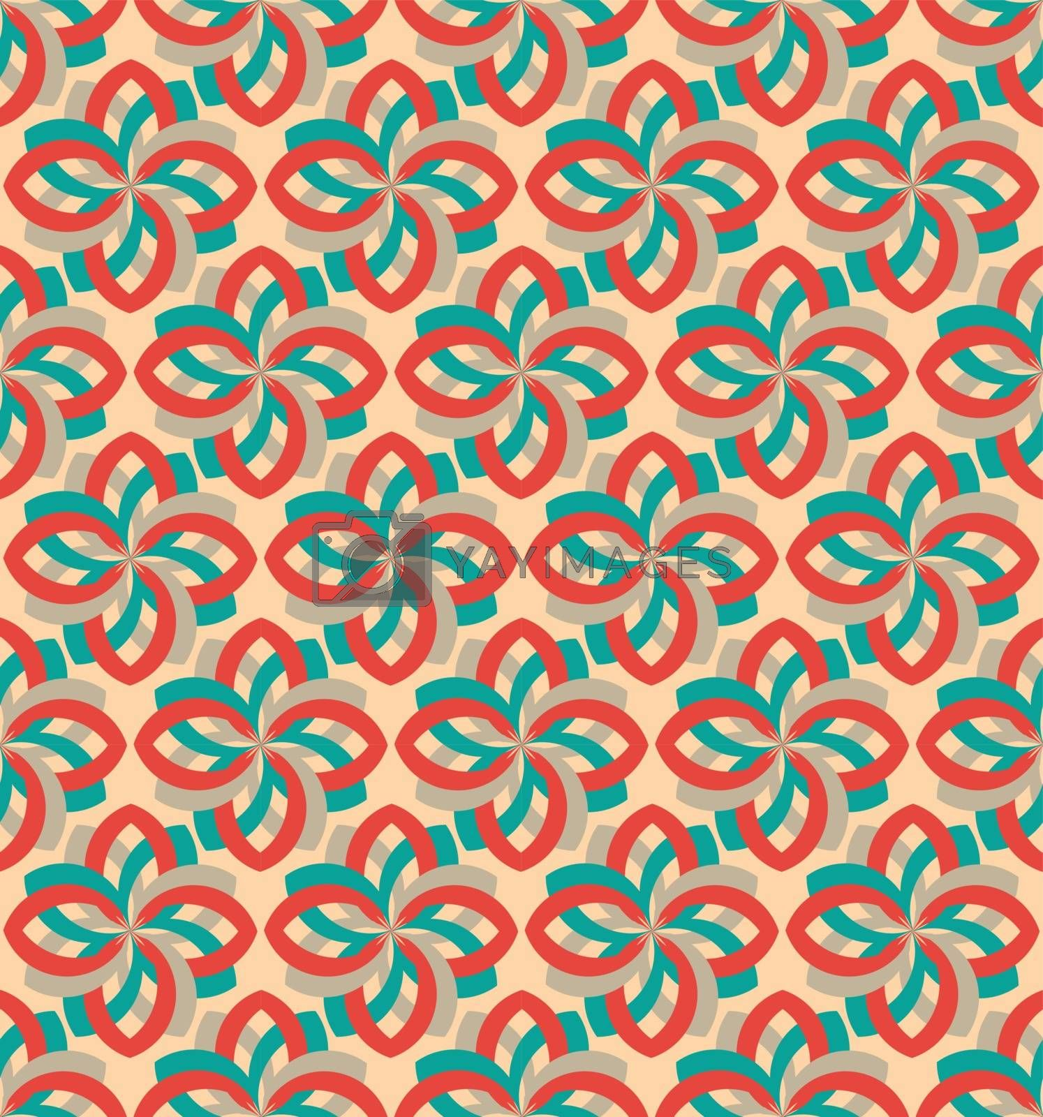 Retro flower geometric seamless pattern ornament by tommarkov