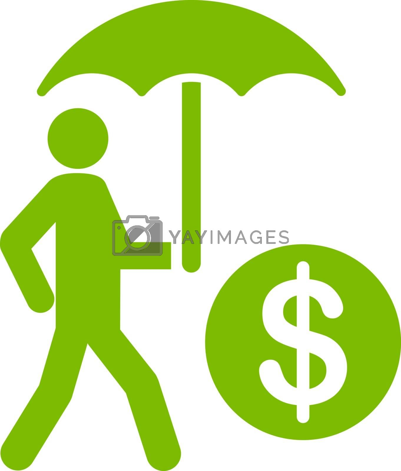 Financial insurance icon from Business Bicolor Set. Vector style is flat symbols, eco green color, rounded angles, white background.