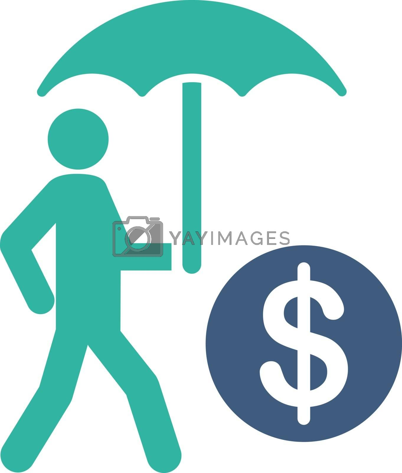 Financial insurance icon from Business Bicolor Set. Vector style is flat bicolor symbols, cobalt and cyan colors, rounded angles, white background.