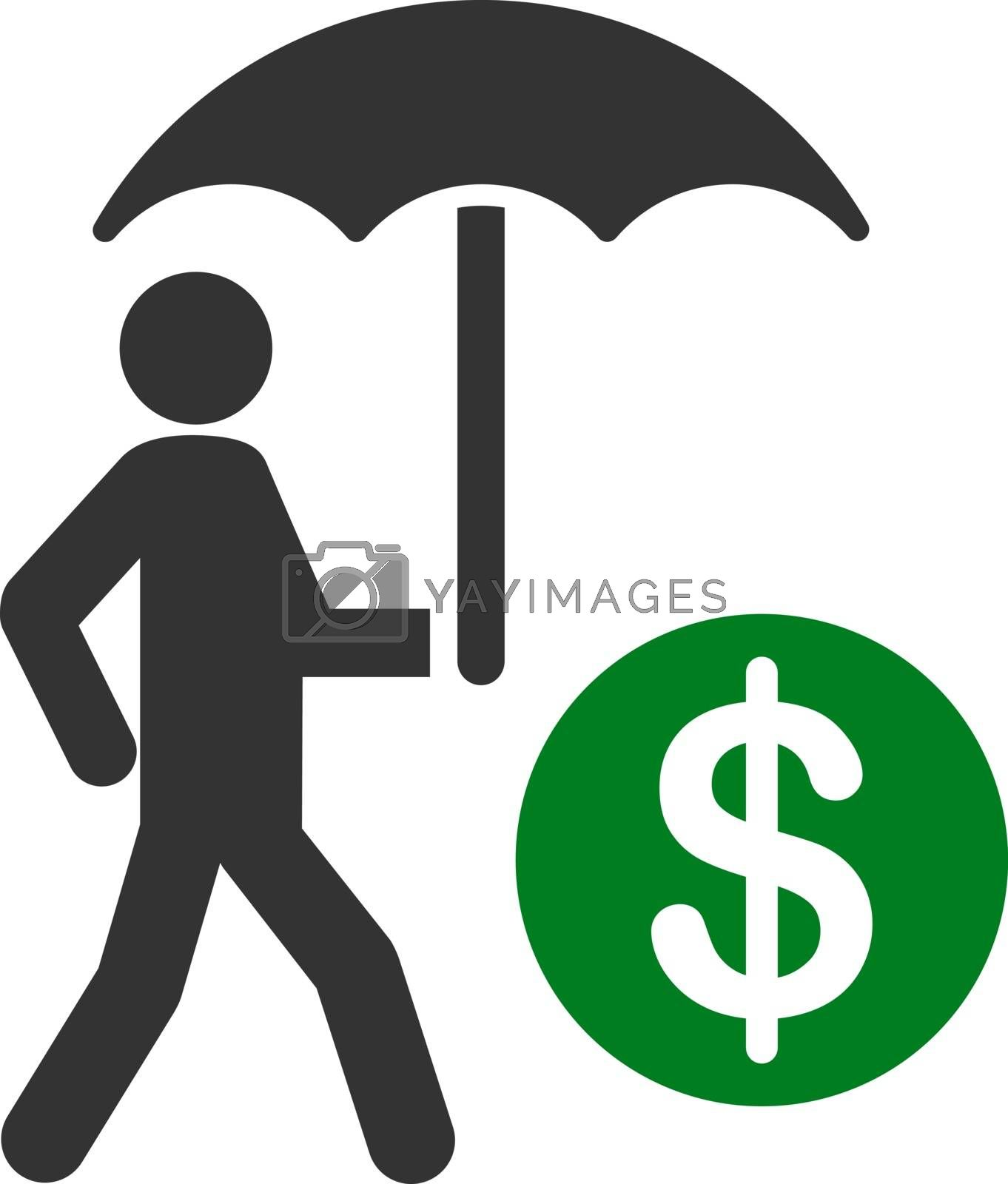 Financial insurance icon from Business Bicolor Set. Vector style is flat bicolor symbols, green and gray colors, rounded angles, white background.