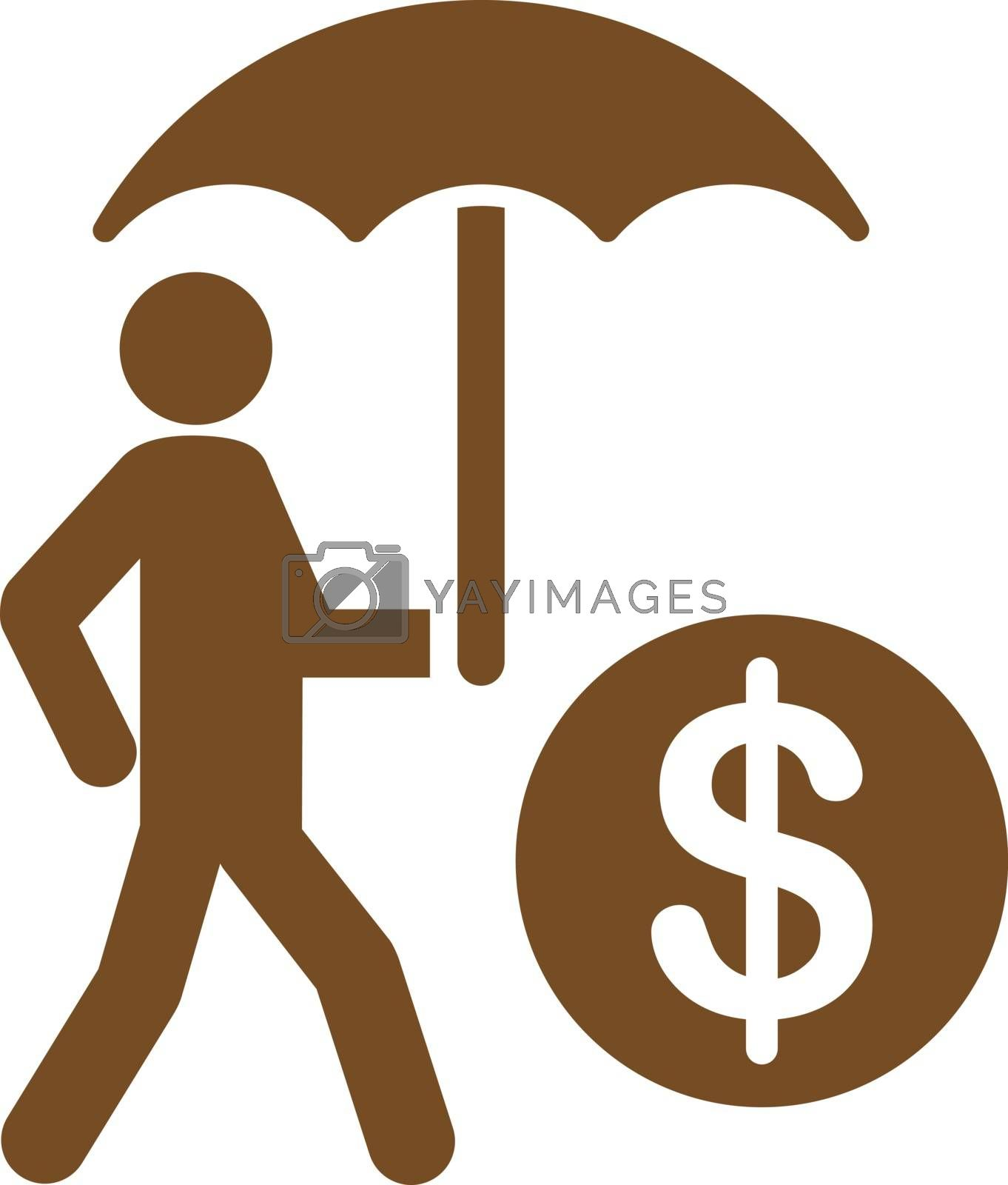 Financial insurance icon from Business Bicolor Set. Vector style is flat symbols, brown color, rounded angles, white background.