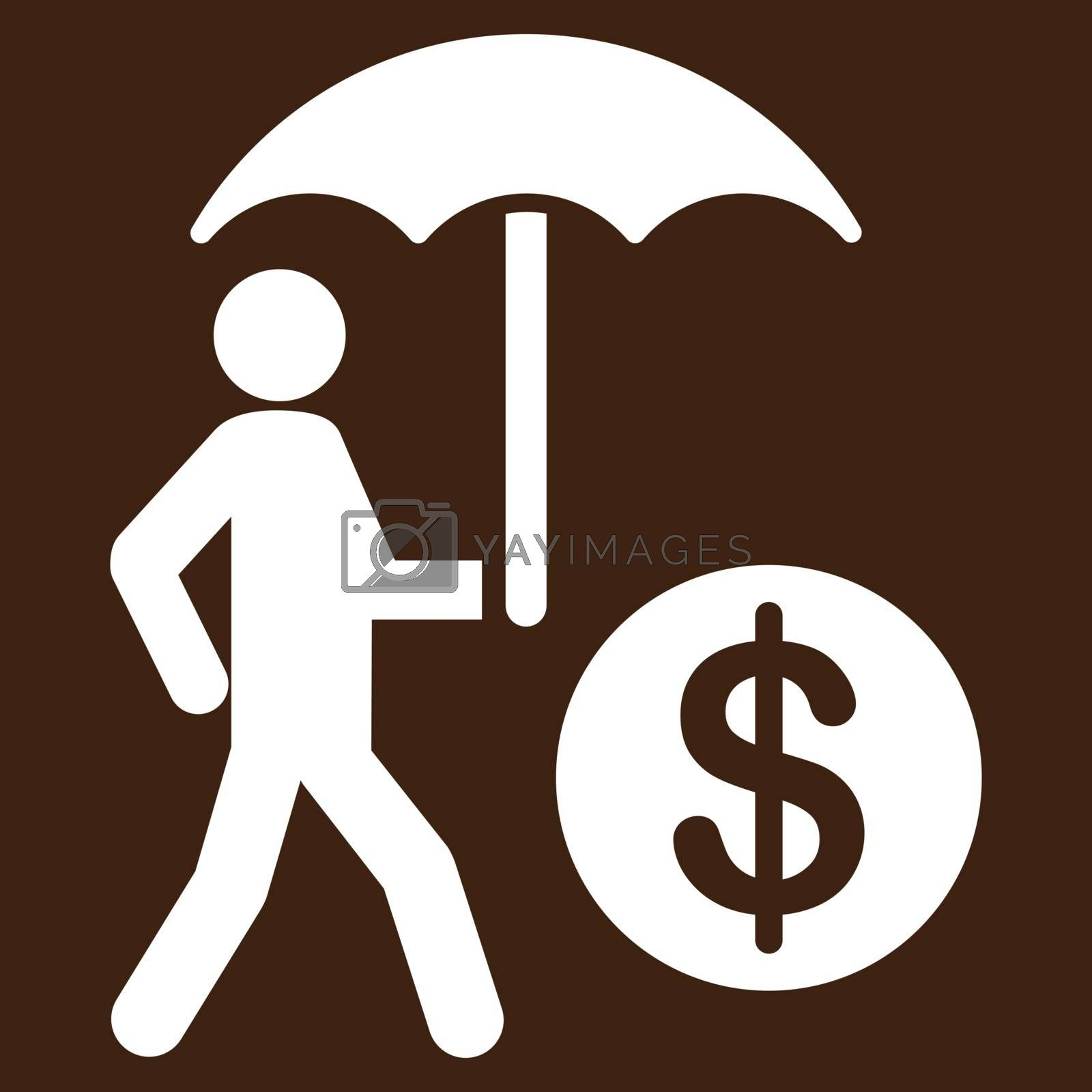 Financial insurance icon from Business Bicolor Set. Vector style is flat symbols, white color, rounded angles, brown background.