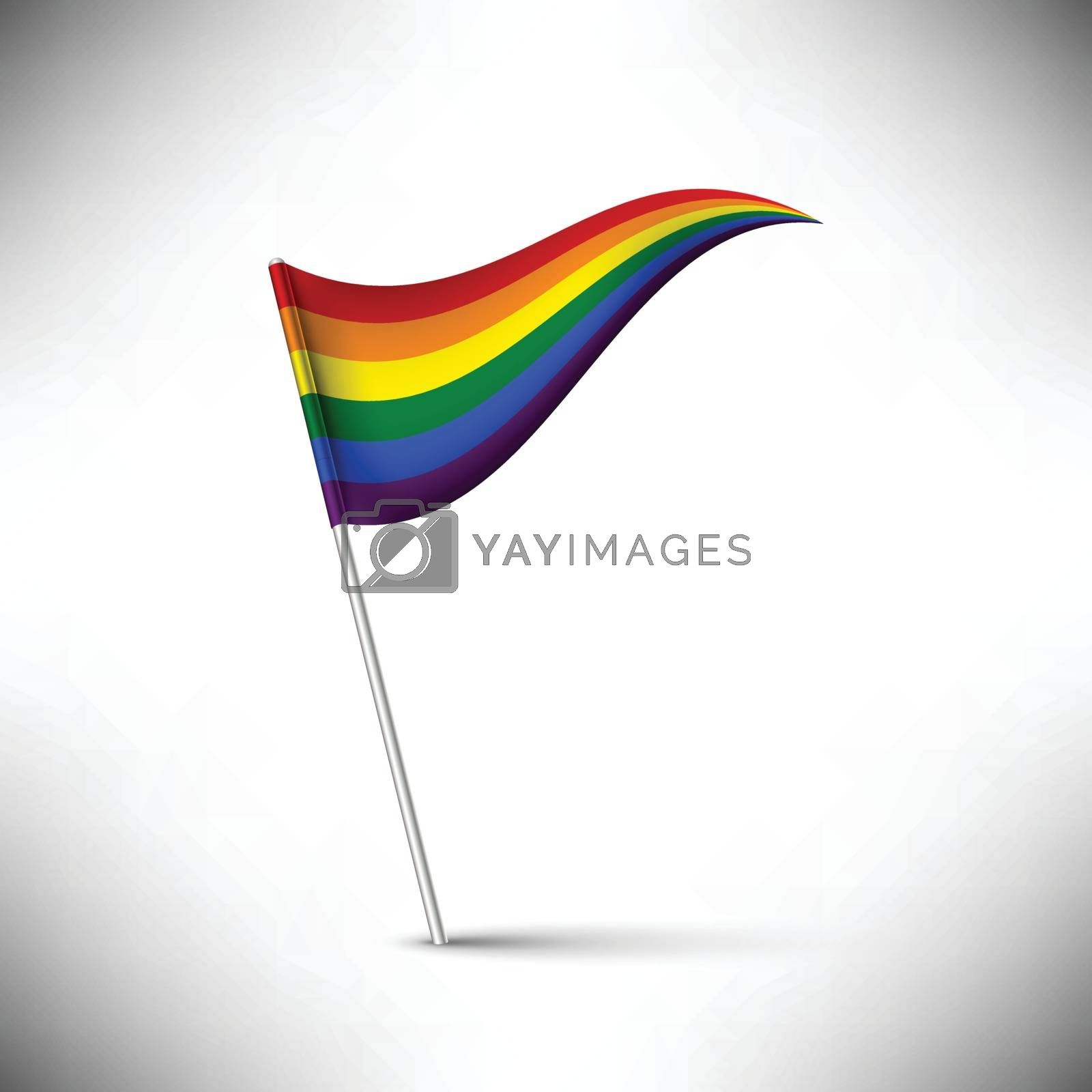 Vector rainbow flag waving on white background