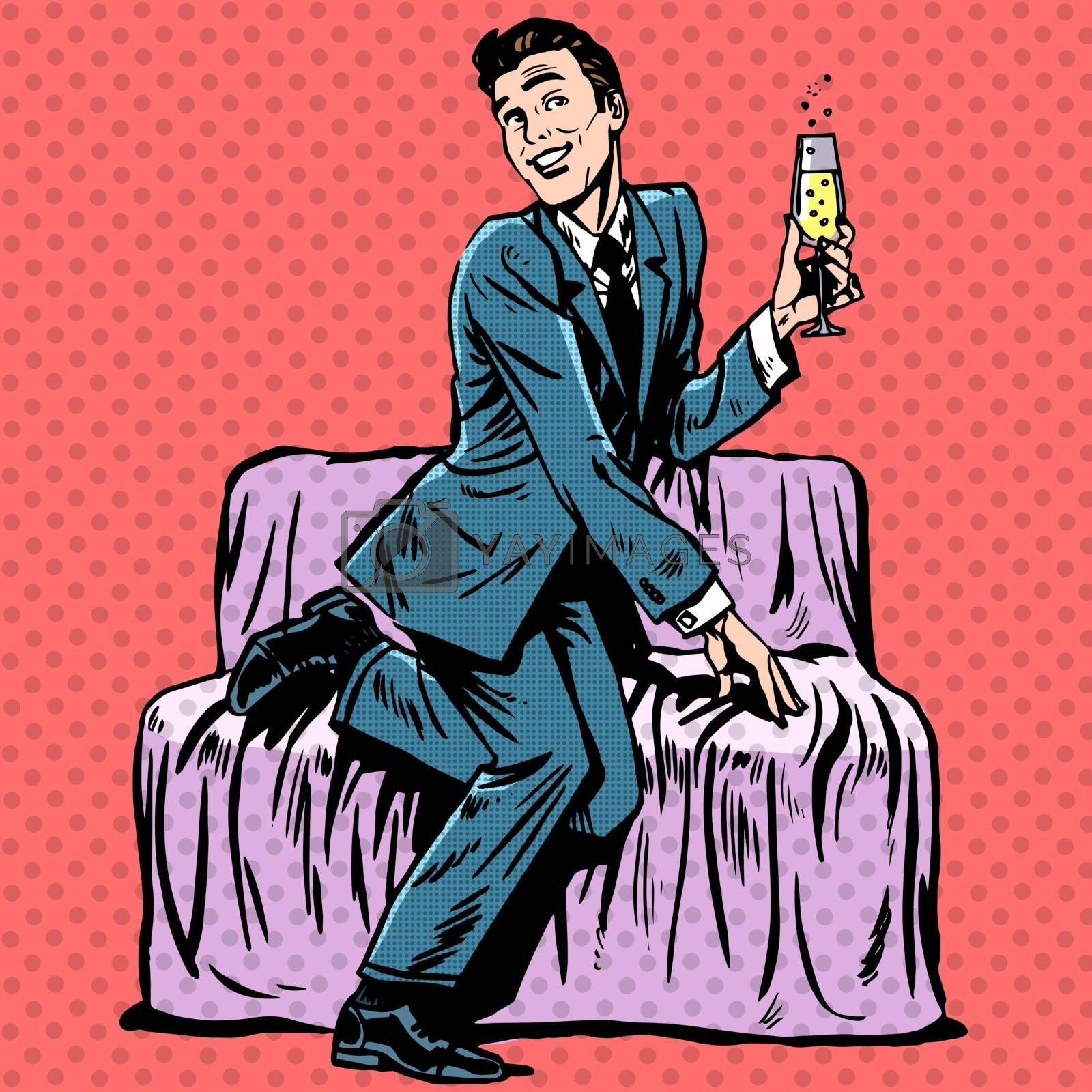 Playful man with a glass of champagne on the couch. Humor Dating romance