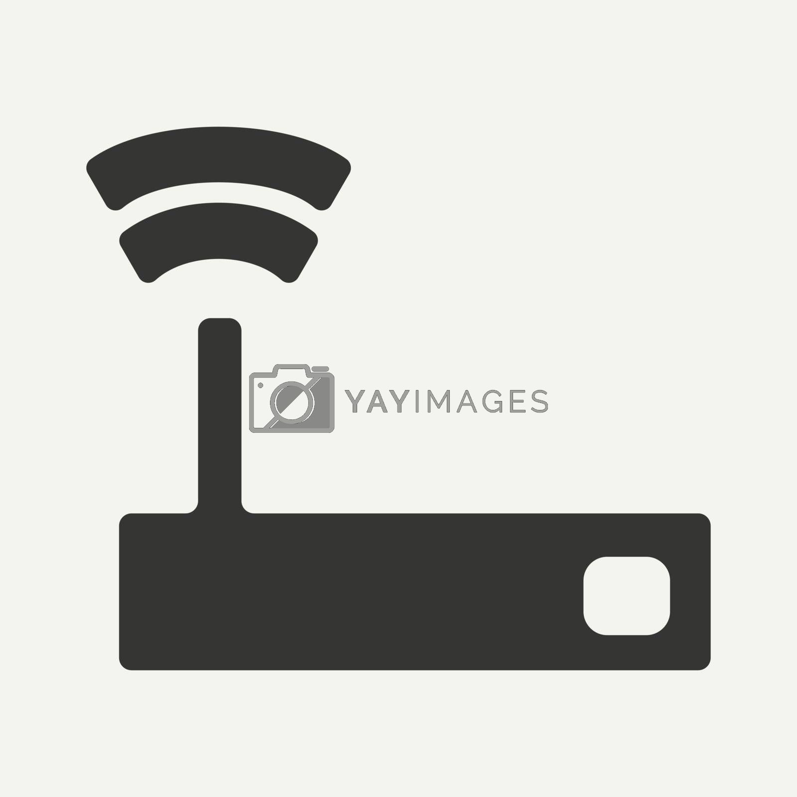 Flat in black and white mobile application wifi router