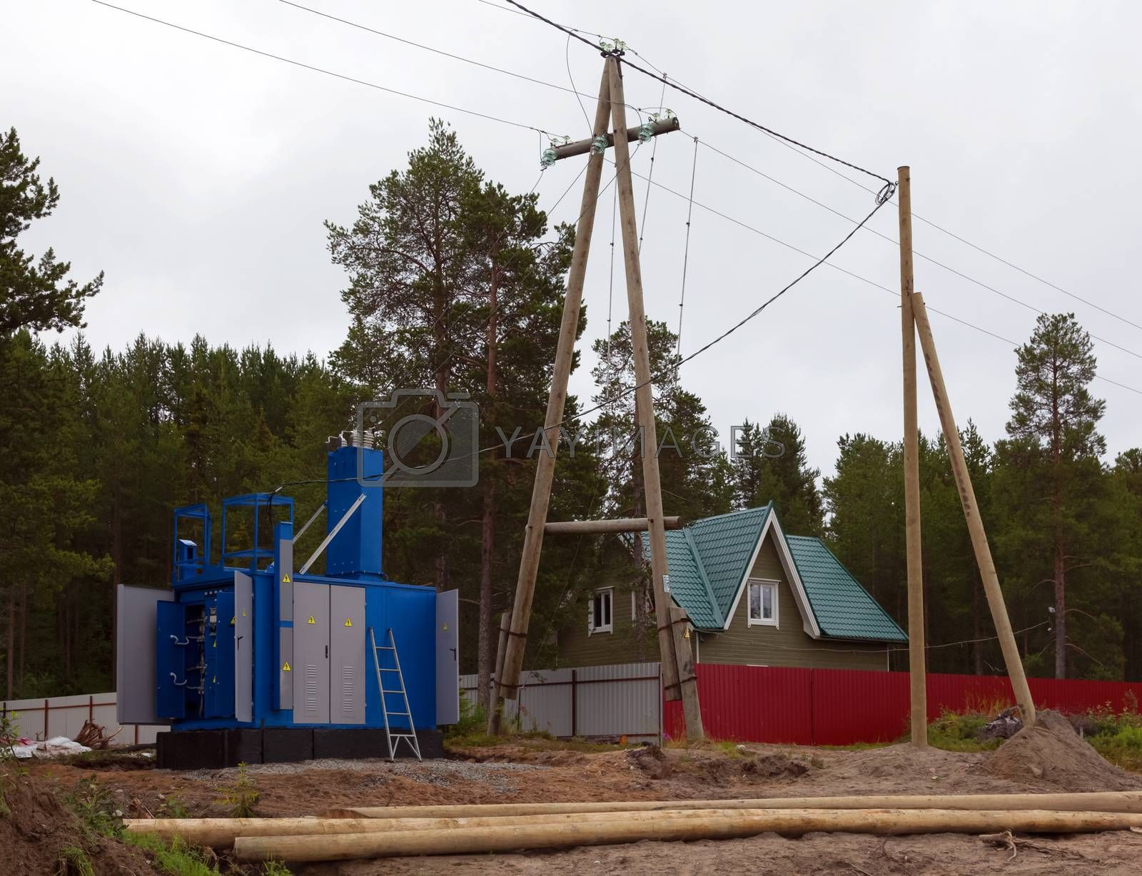 Construction of transformer substation and transmission line to supply electricity to homes