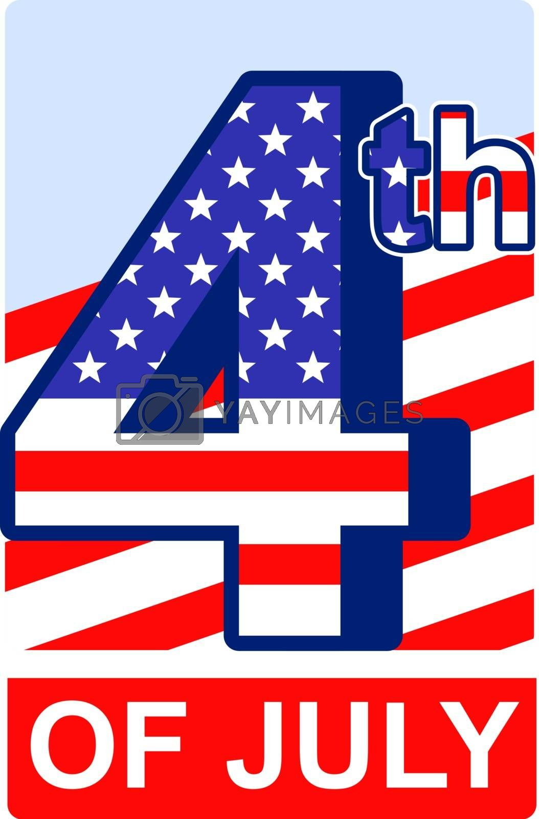 4th of July badge for US independence day
