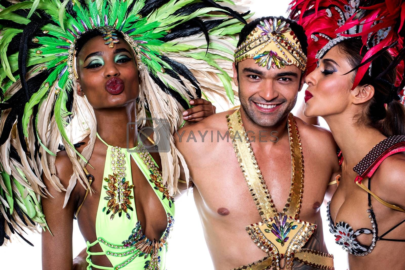 Samba dancers with colorful costume over white