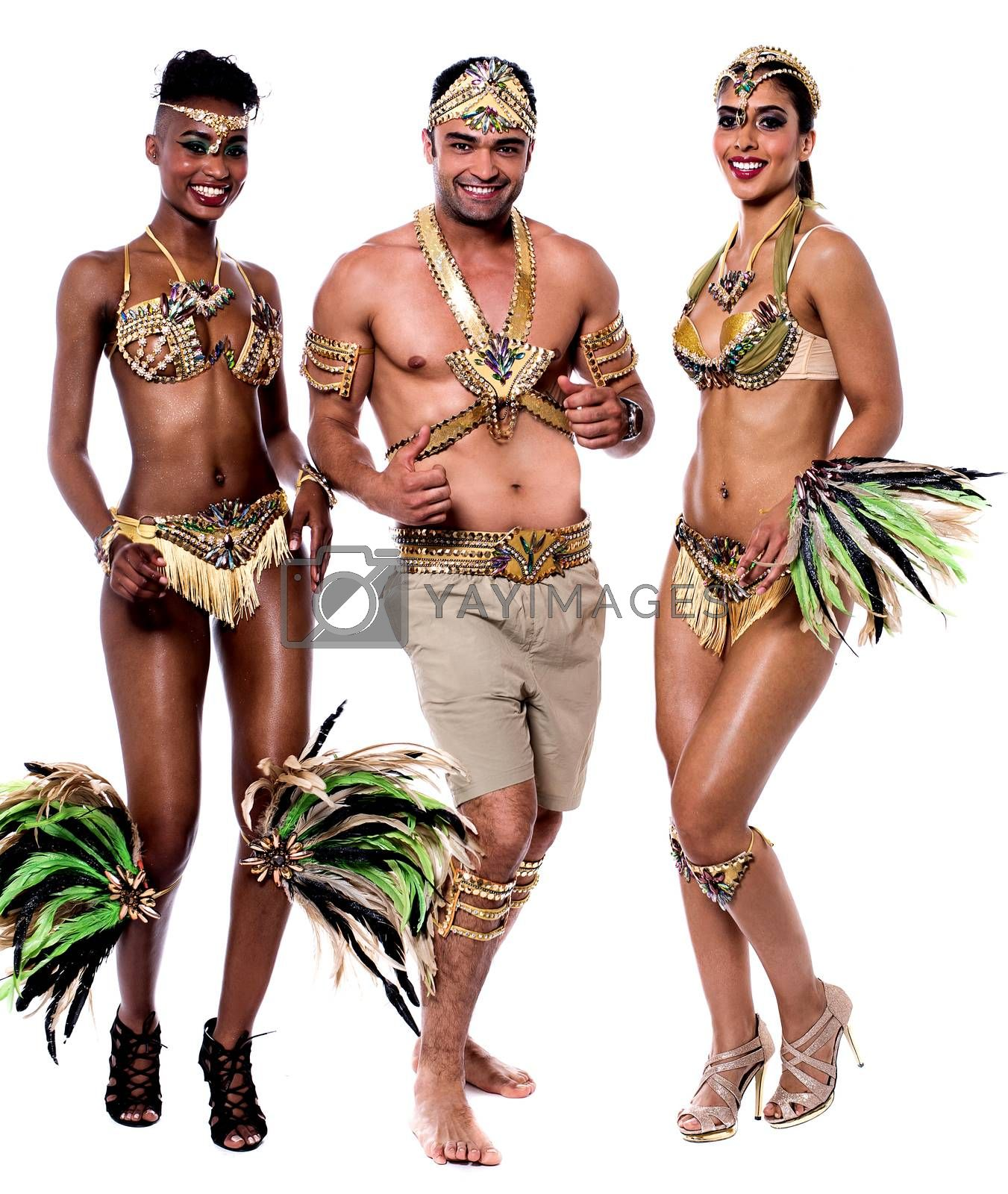 Young samba dancers in performance over white