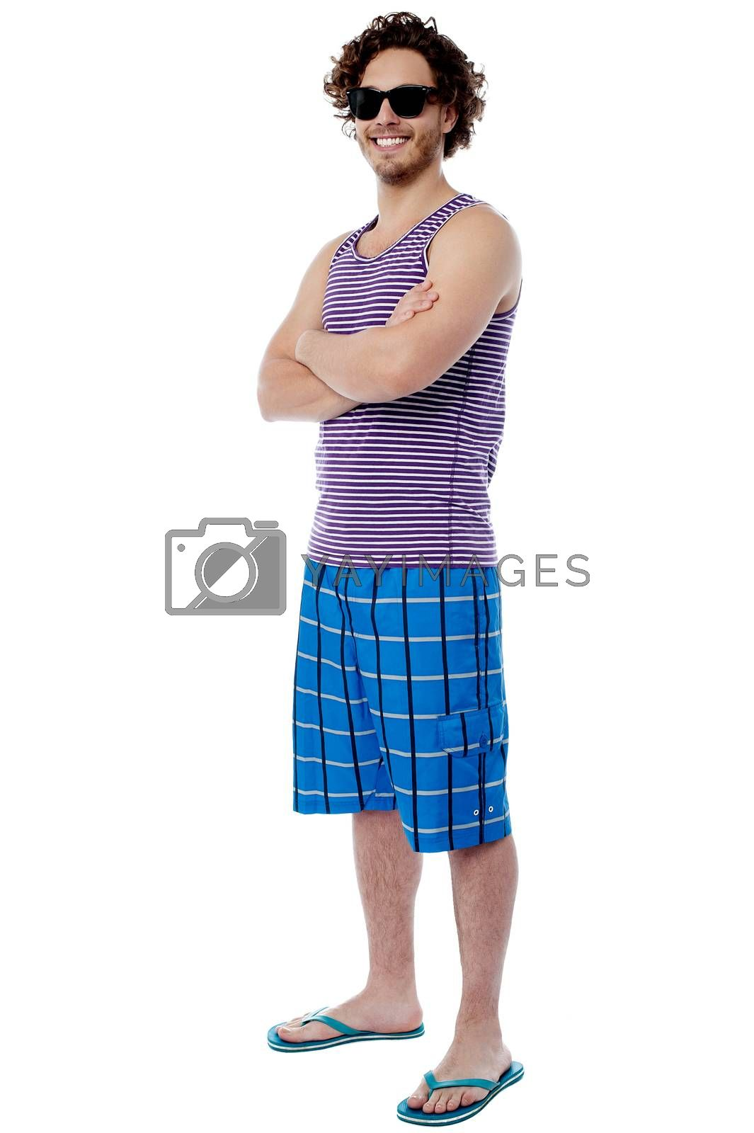 Casual male in beach wear and sunglasses