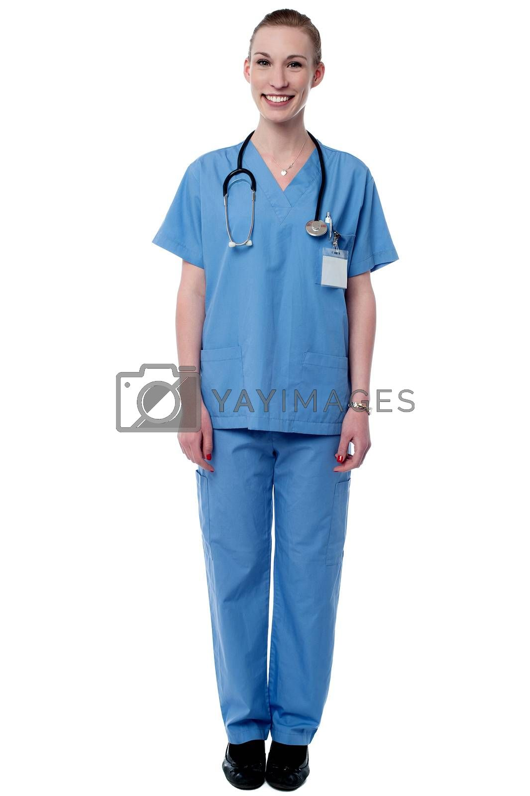 Full length image of smiling female doctor