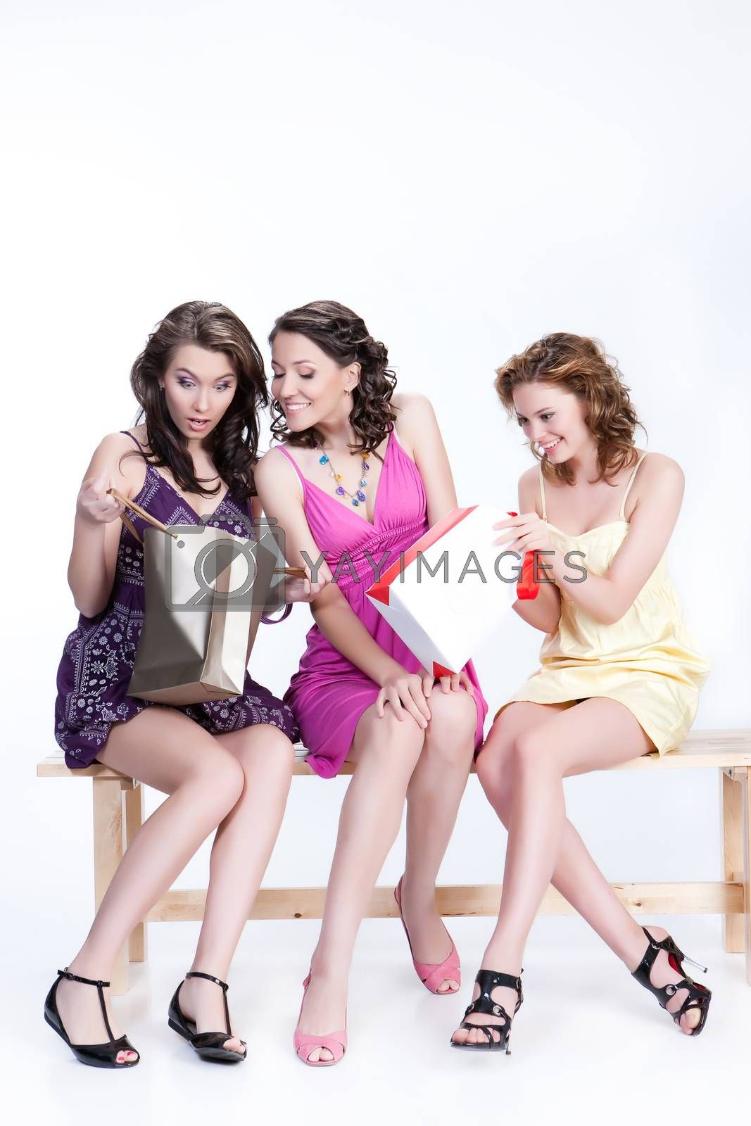Young women with shopping bag in different actions and emotions