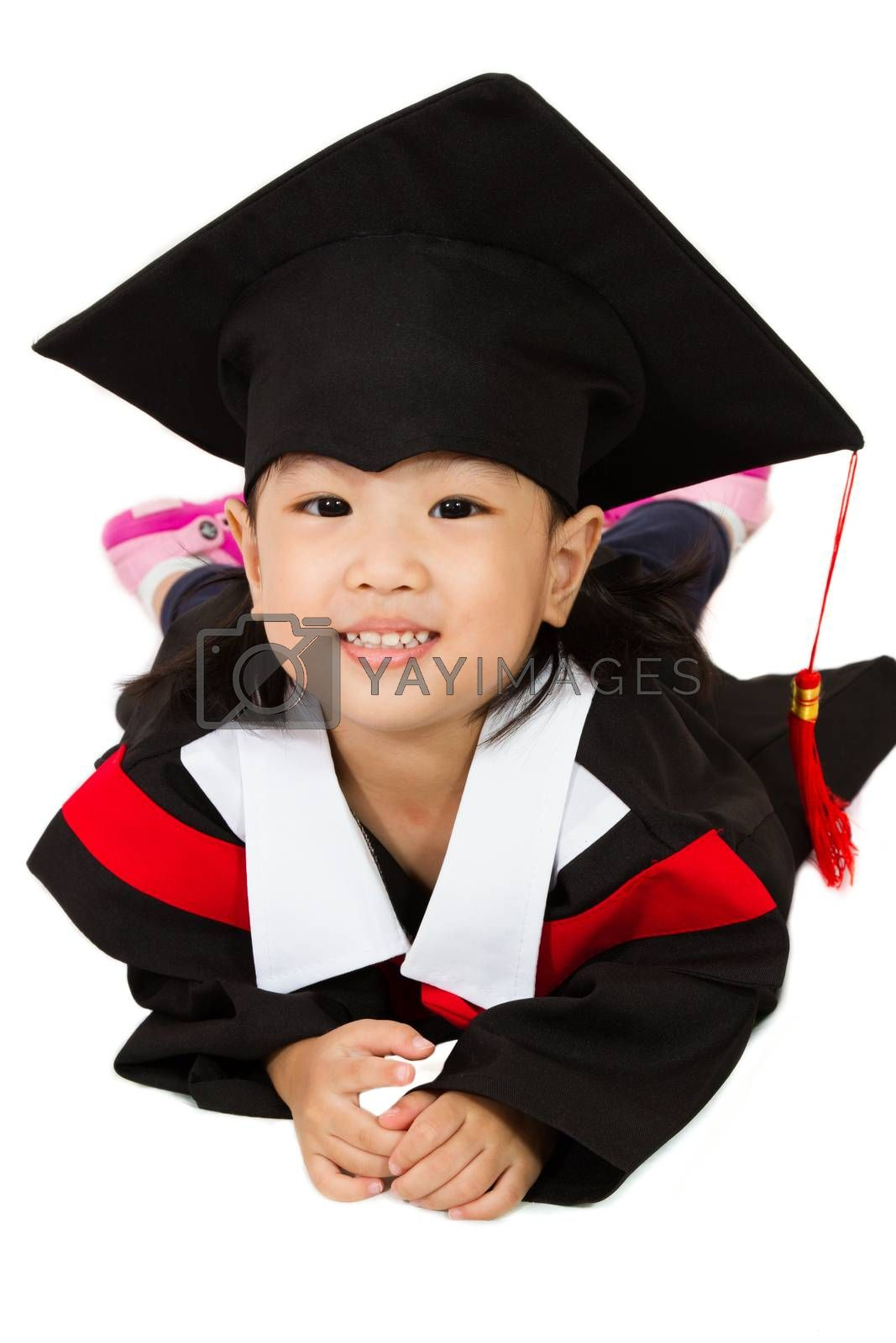 Chinese little girl graduation in white backround studio shot.