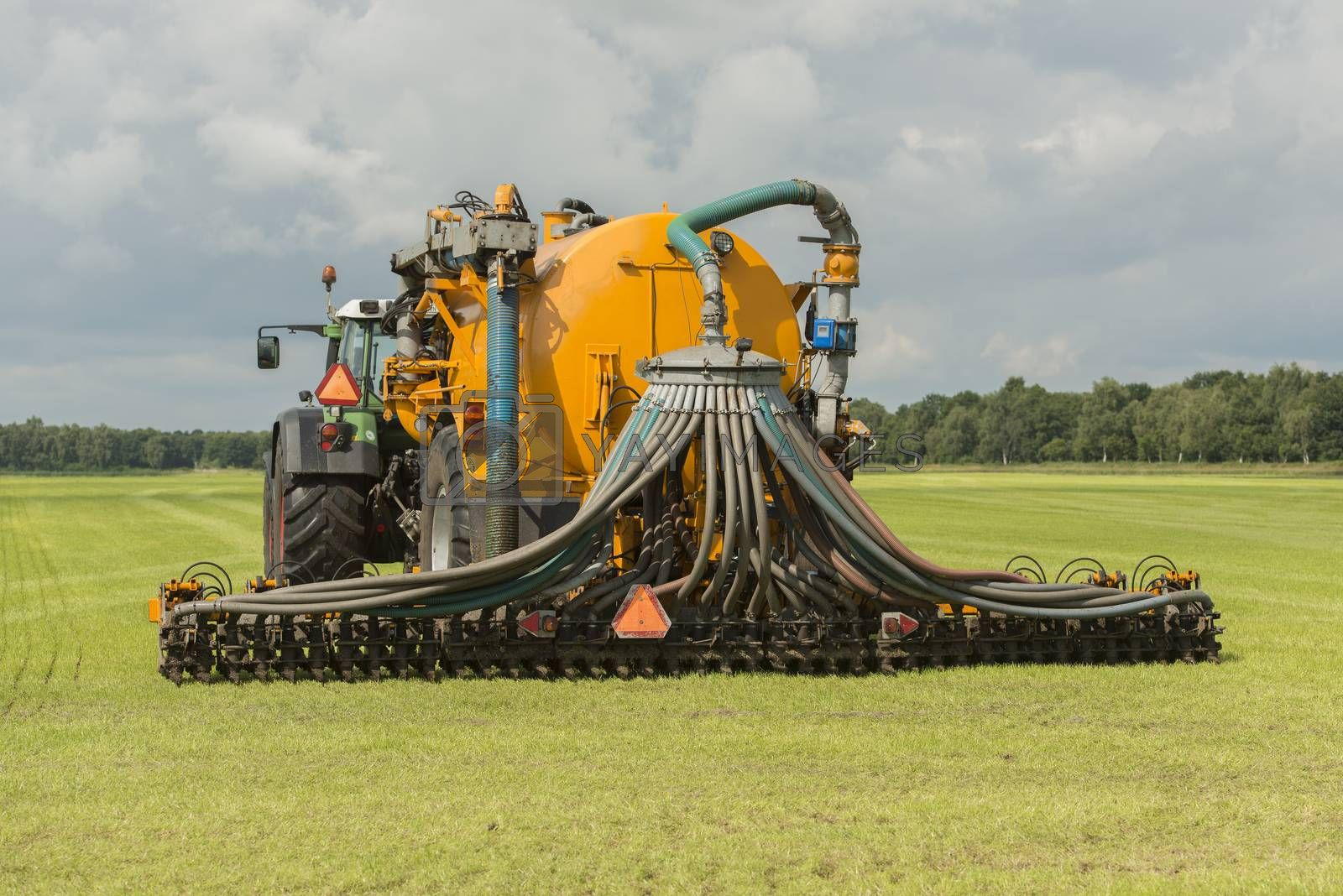 Agriculture, injecting of liquid manure with tractor and yellow vulture spreader trailer