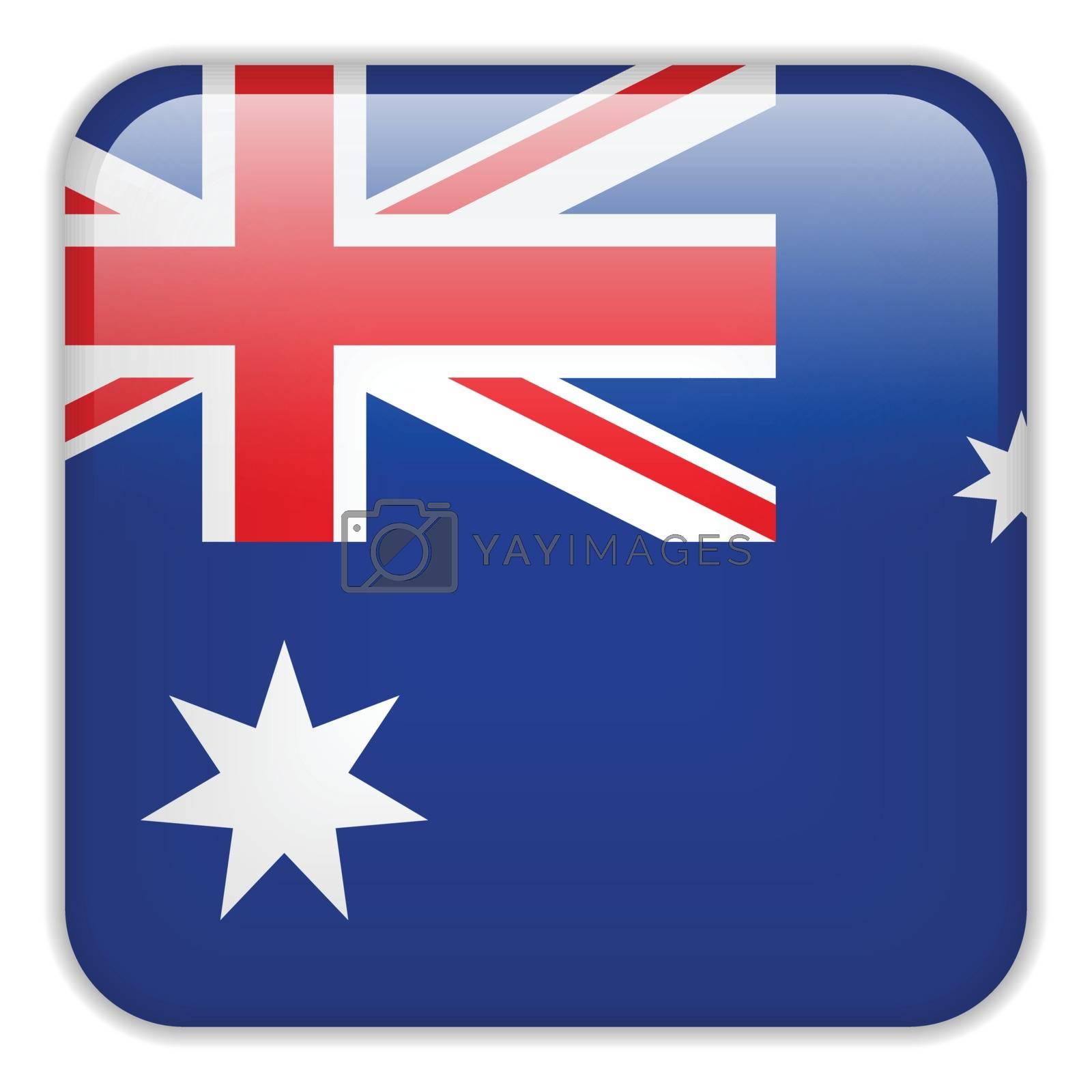 Vector - Australia Flag Smartphone Application Square Buttons