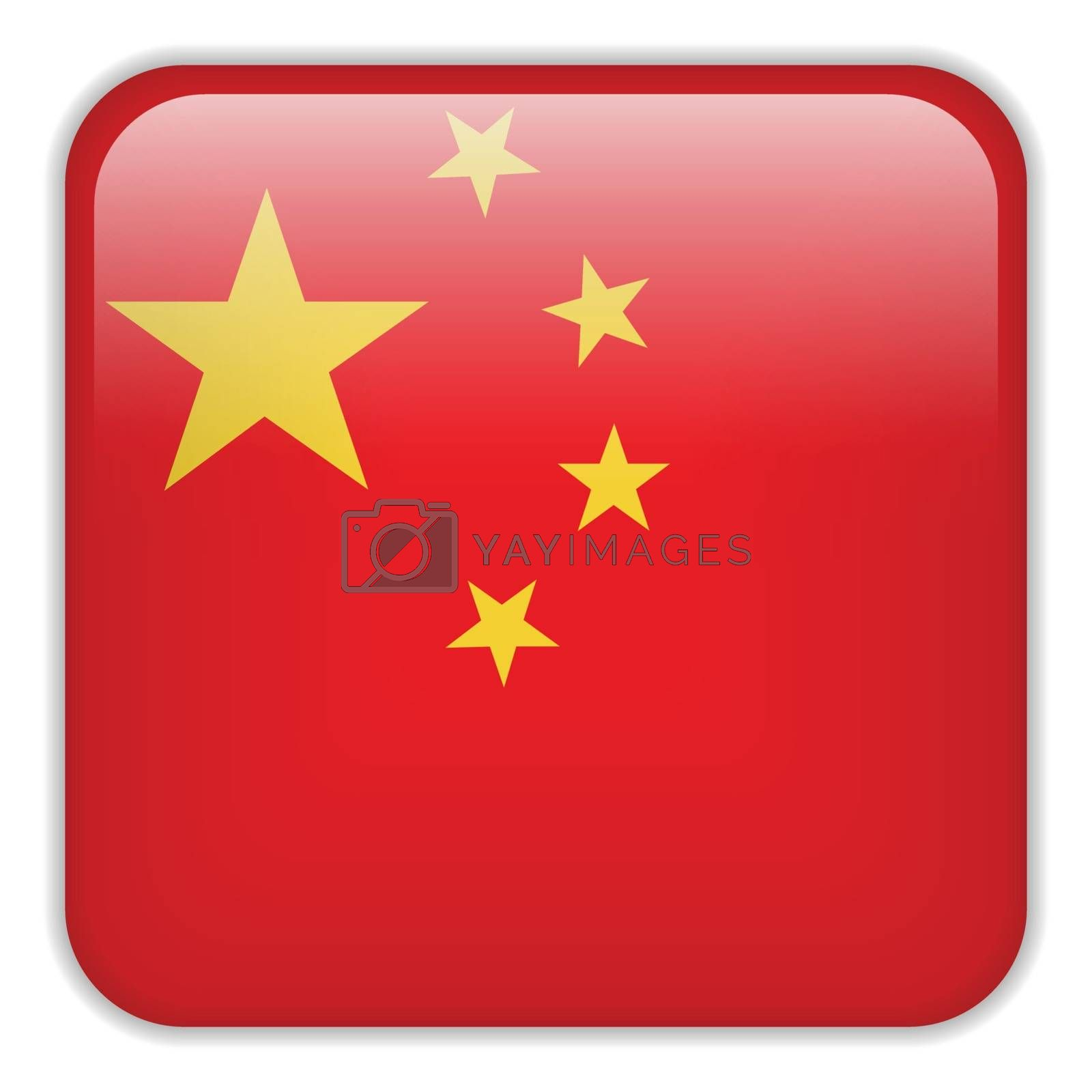 Vector - China Flag Smartphone Application Square Buttons
