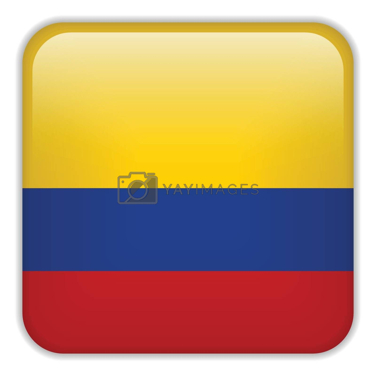 Vector - Colombia Flag Smartphone Application Square Buttons