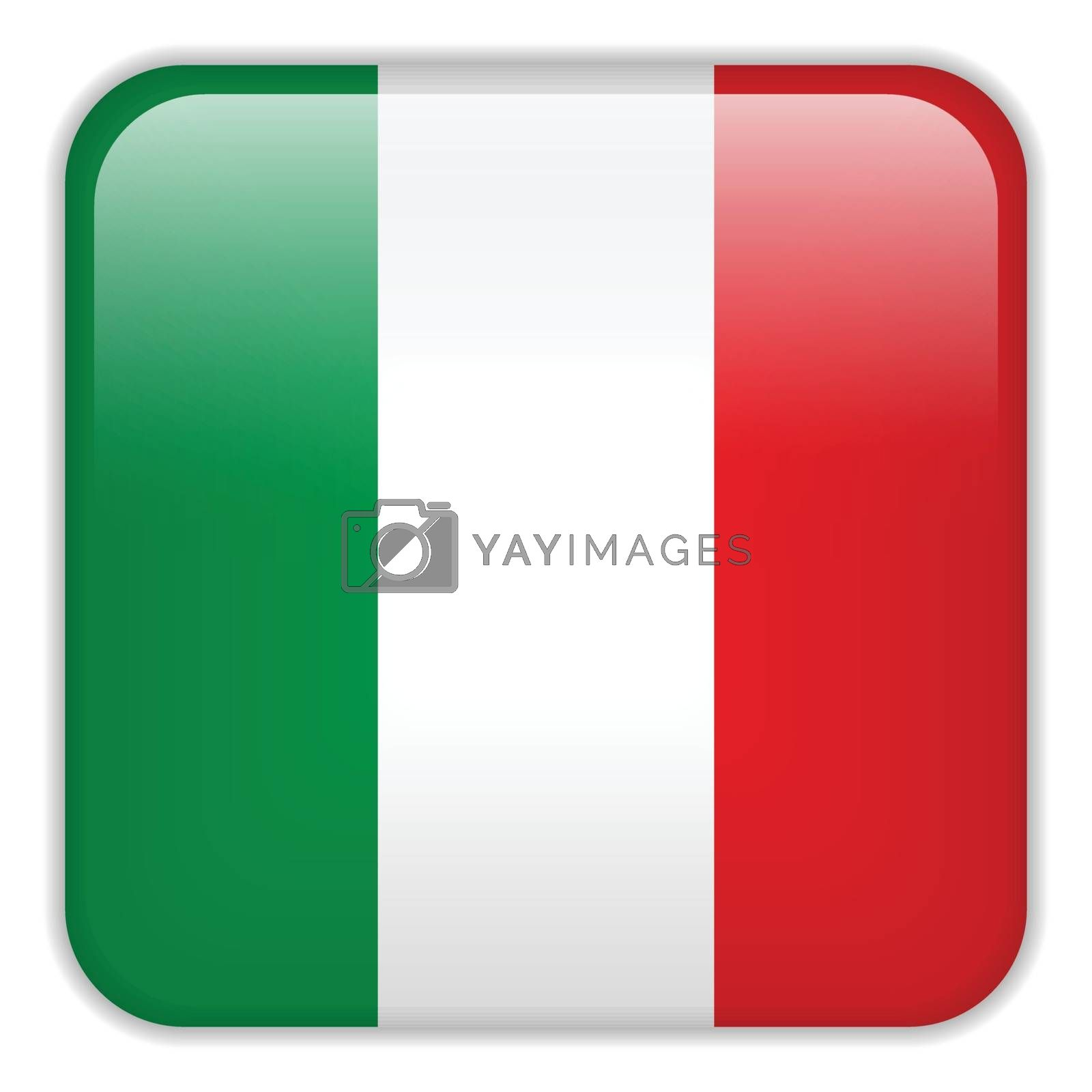 Vector - Italy Flag Smartphone Application Square Buttons