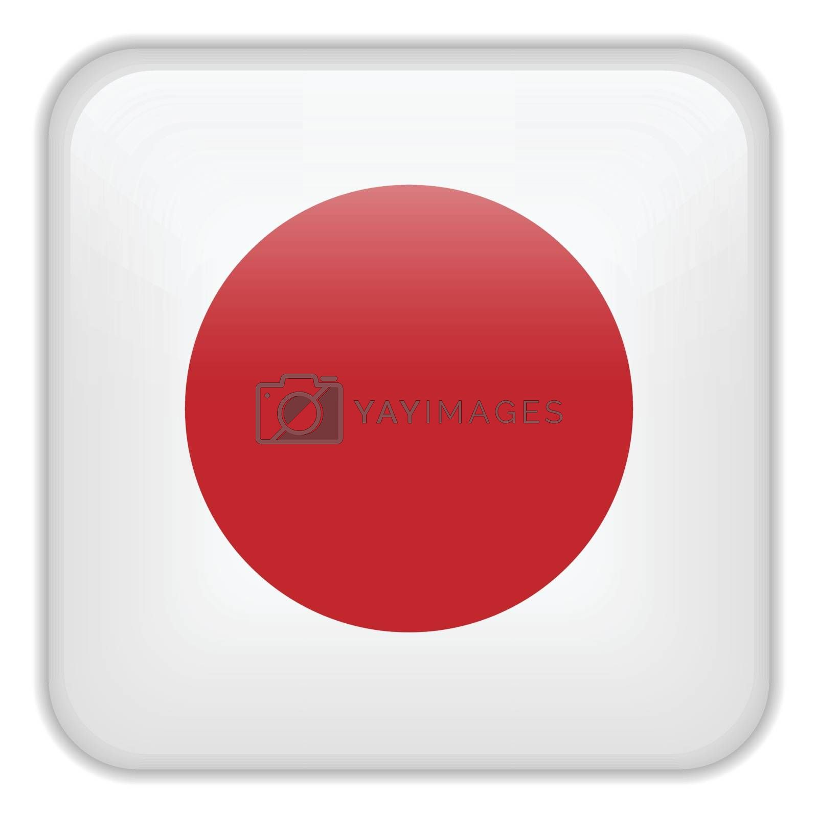 Vector - Japan Flag Smartphone Application Square Buttons