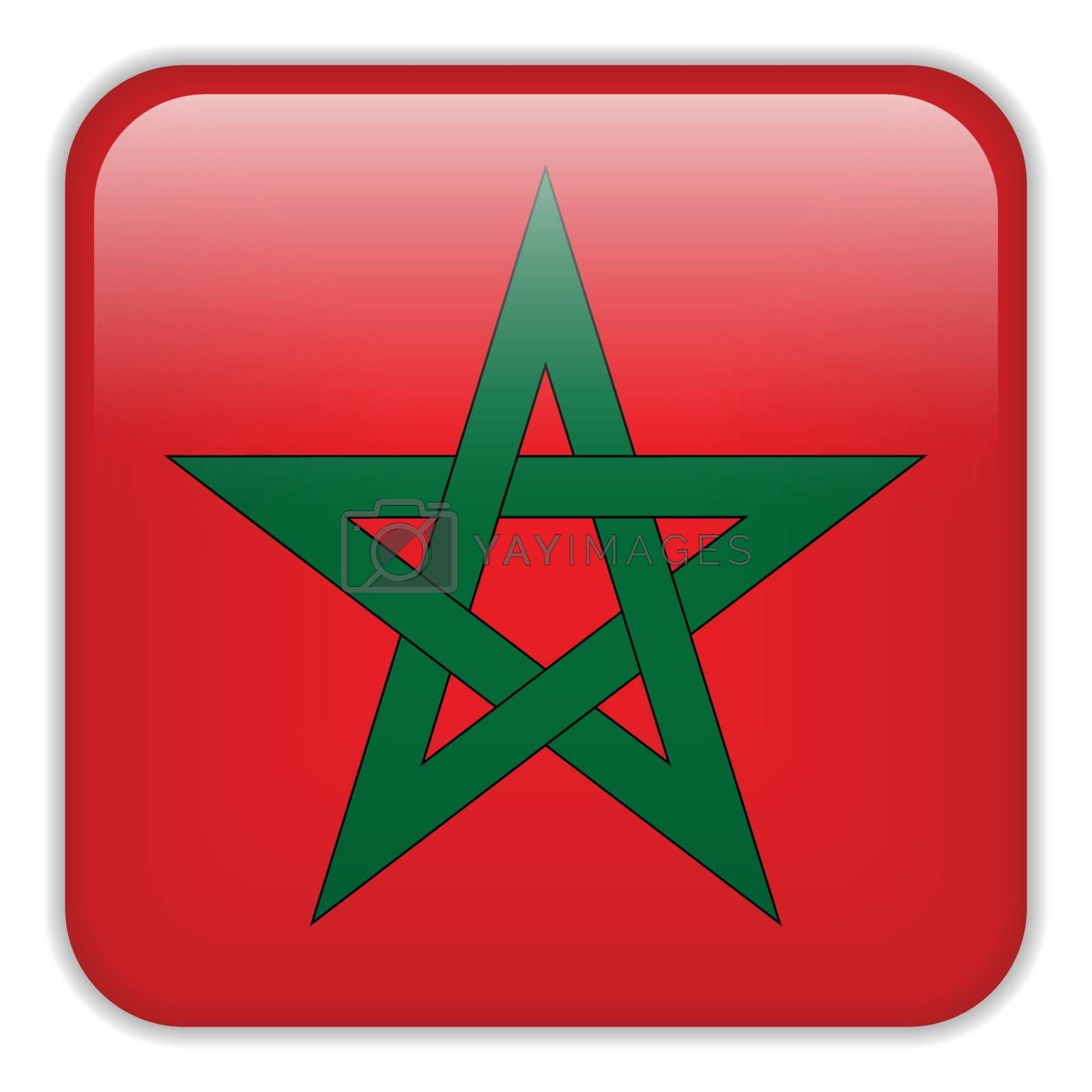 Vector - Morocco Flag Smartphone Application Square Buttons