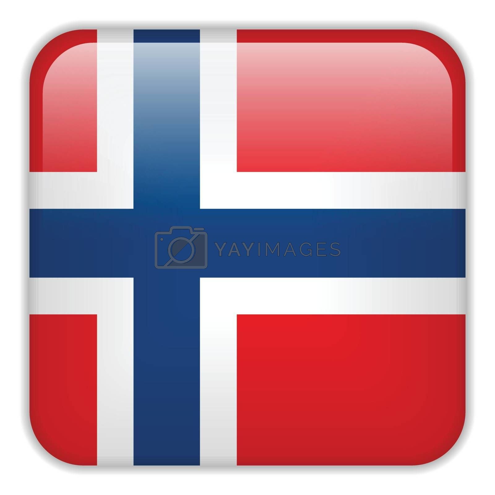 Vector - Norway Flag Smartphone Application Square Buttons