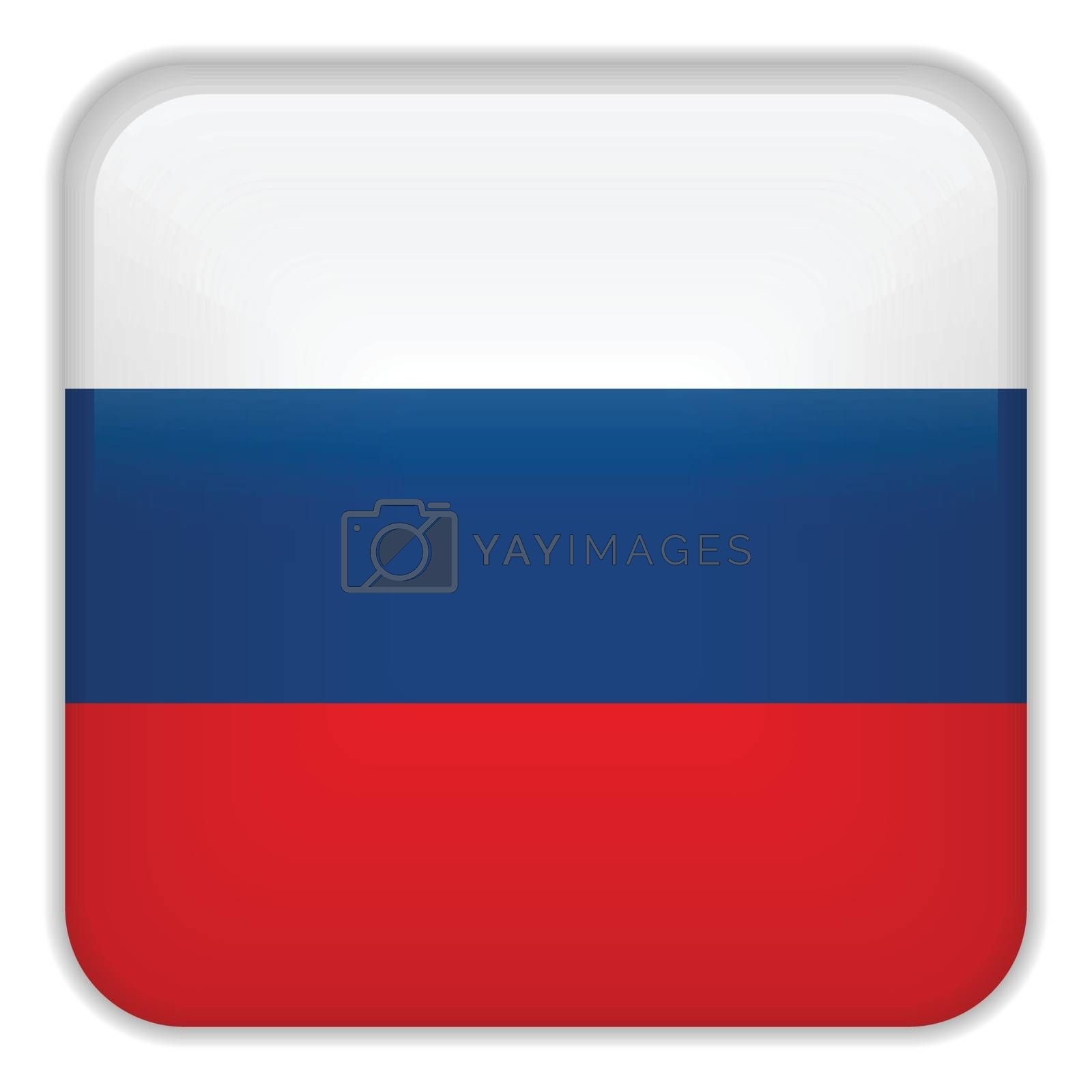 Vector - Russia Flag Smartphone Application Square Buttons
