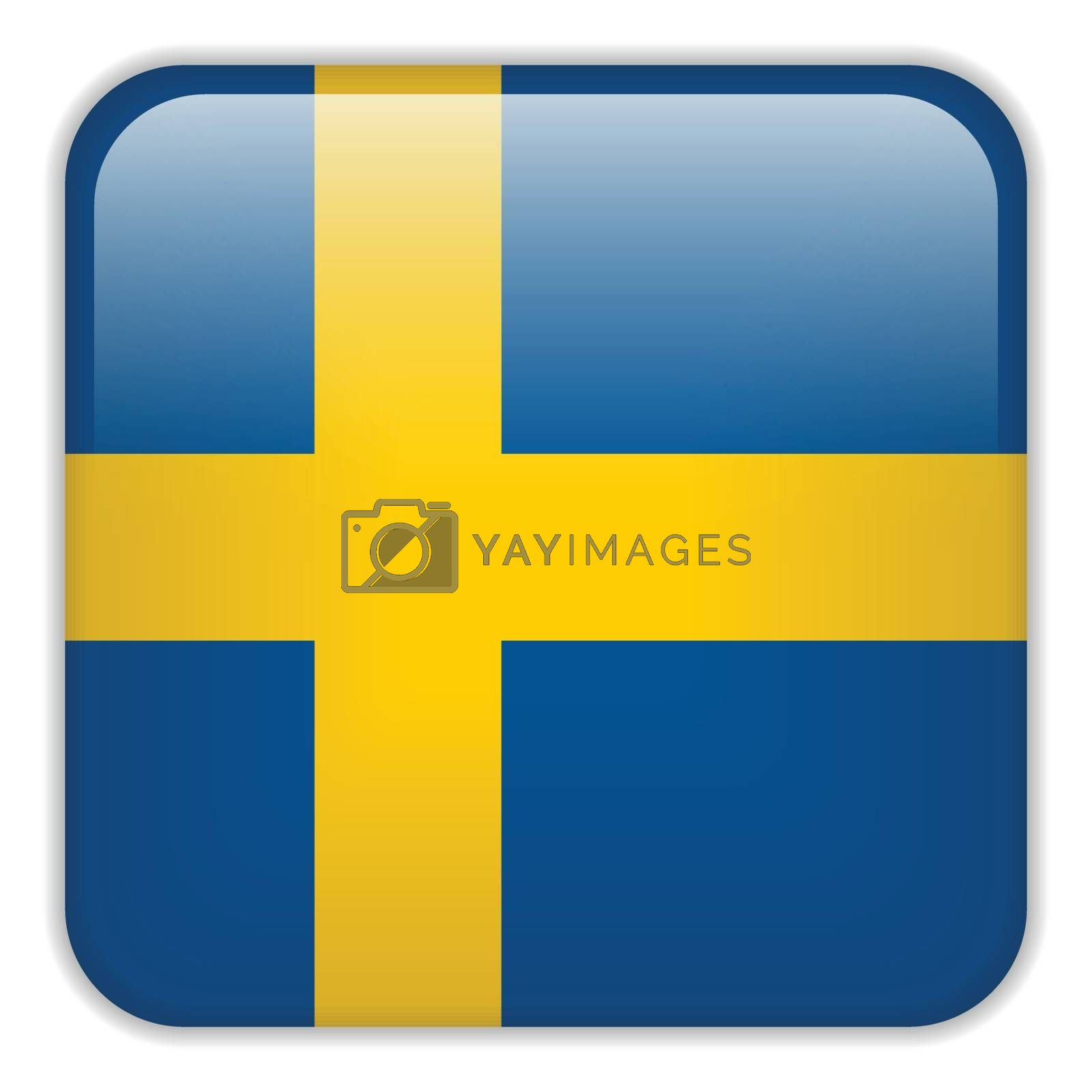 Vector - Sweden Flag Smartphone Application Square Buttons
