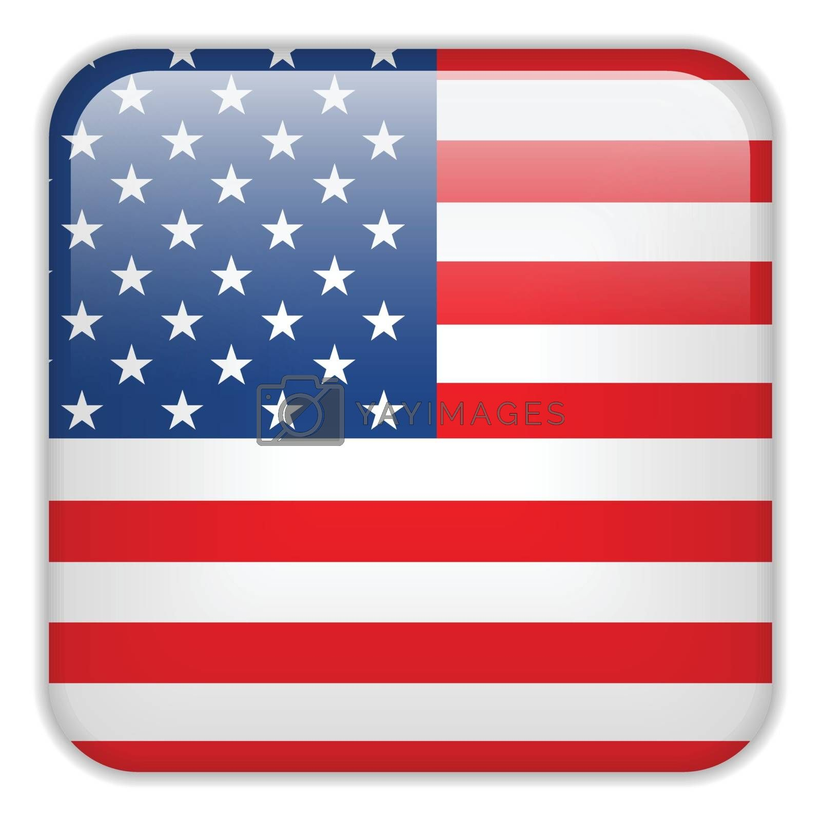 Vector - USA Flag Smartphone Application Square Buttons