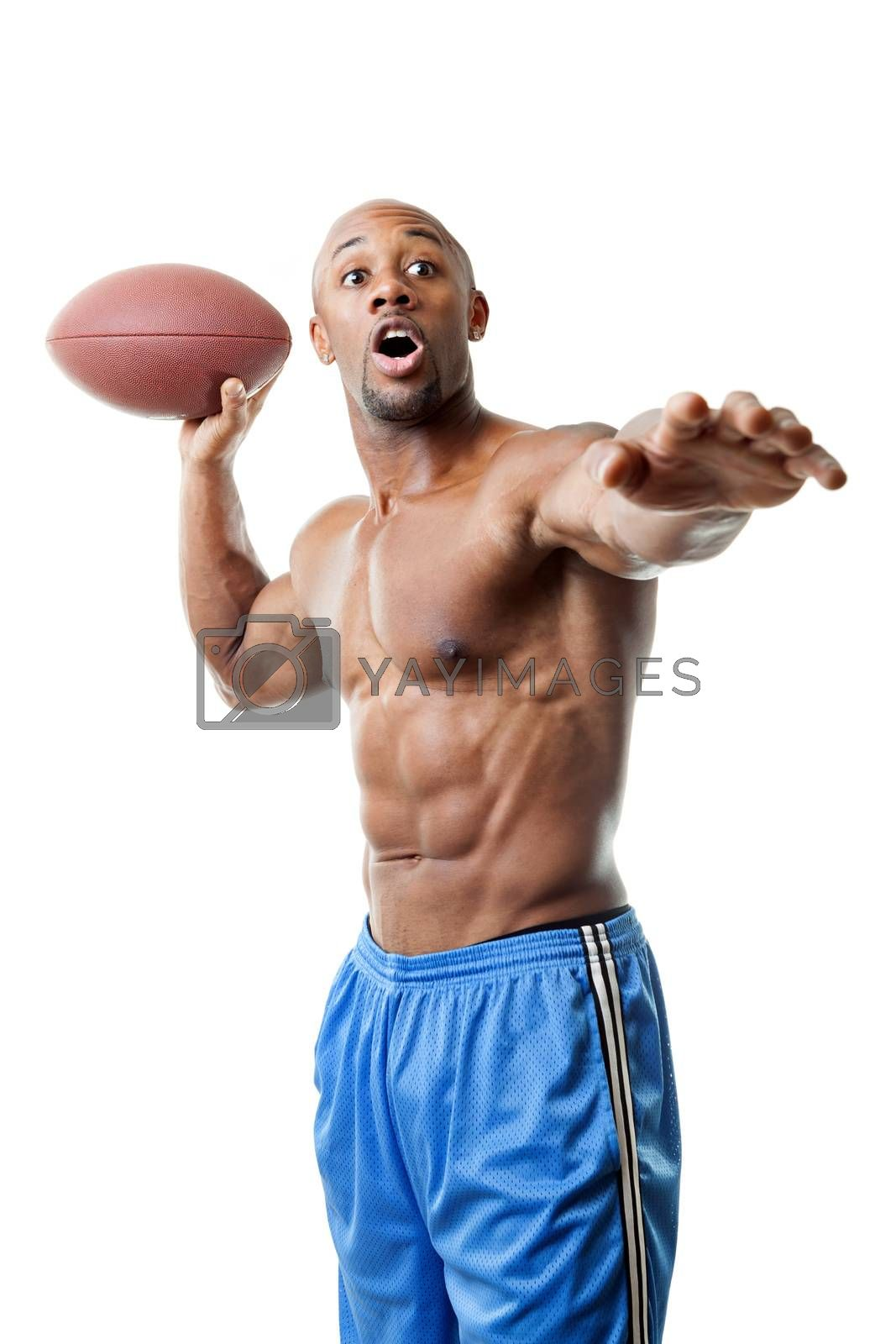 Toned and ripped athletic quarterback throwing a football isolated over a white background.