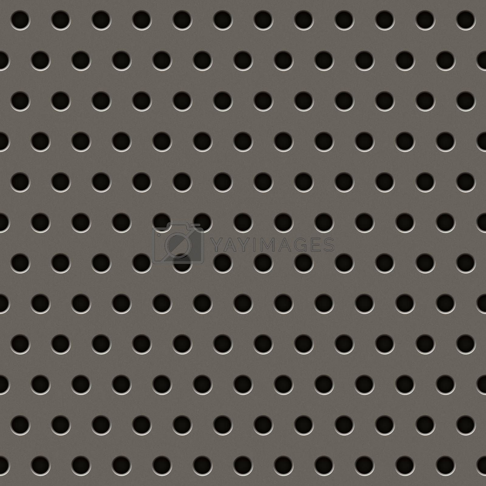 Metal grill texture in grey with circular holes.
