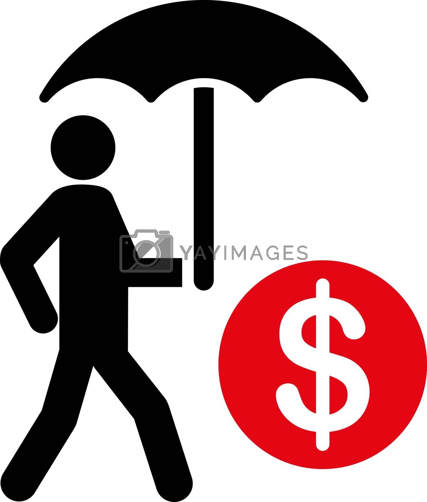 Financial insurance icon. Collection style is flat bicolor symbols, intensive red and black colors, rounded angles, white background.