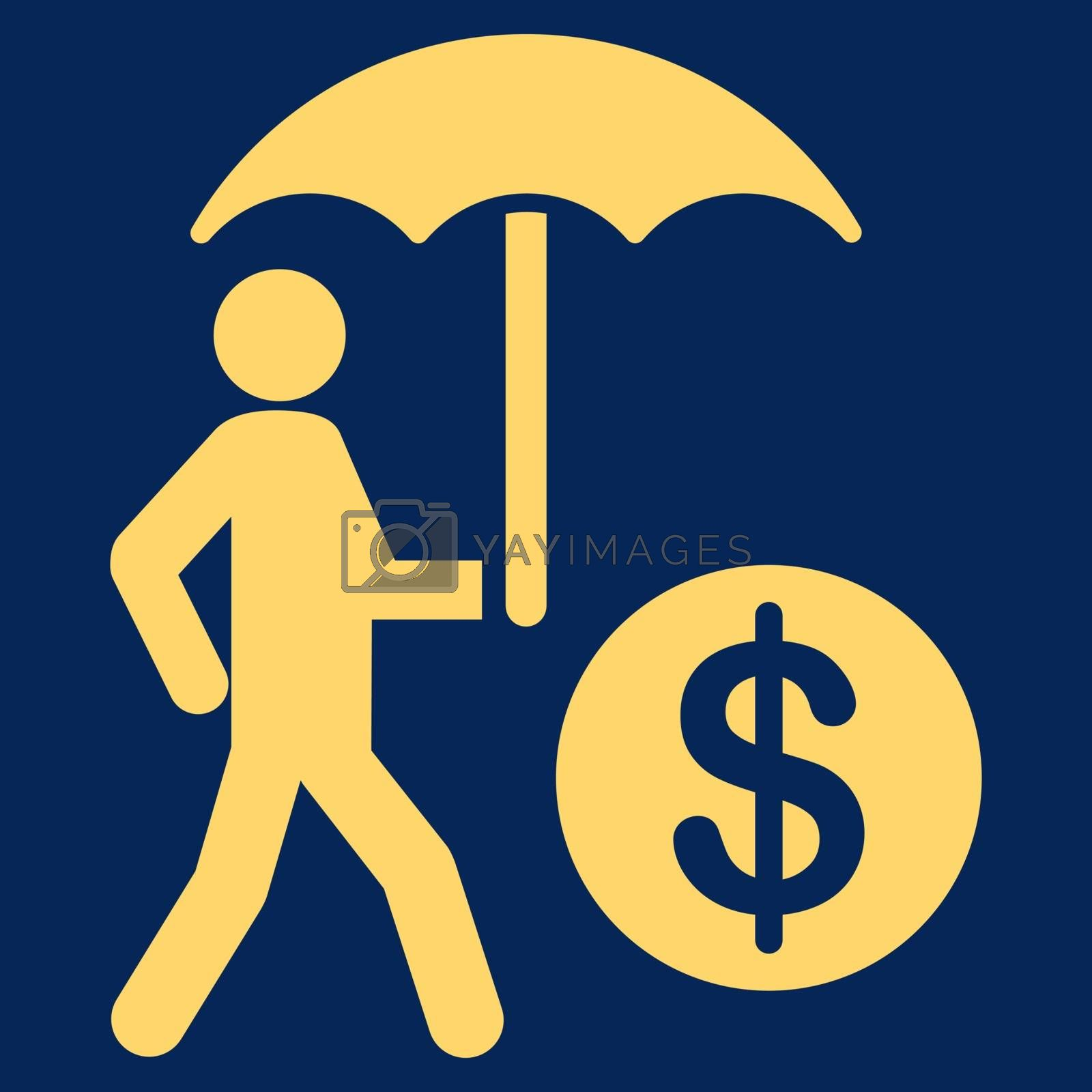 Financial insurance icon. Collection style is flat symbols, yellow color, rounded angles, blue background.