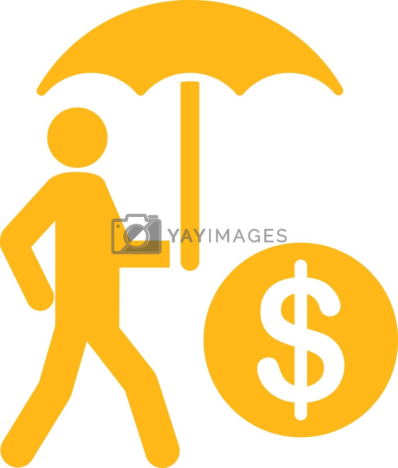 Financial insurance icon. Collection style is flat symbols, yellow color, rounded angles, white background.