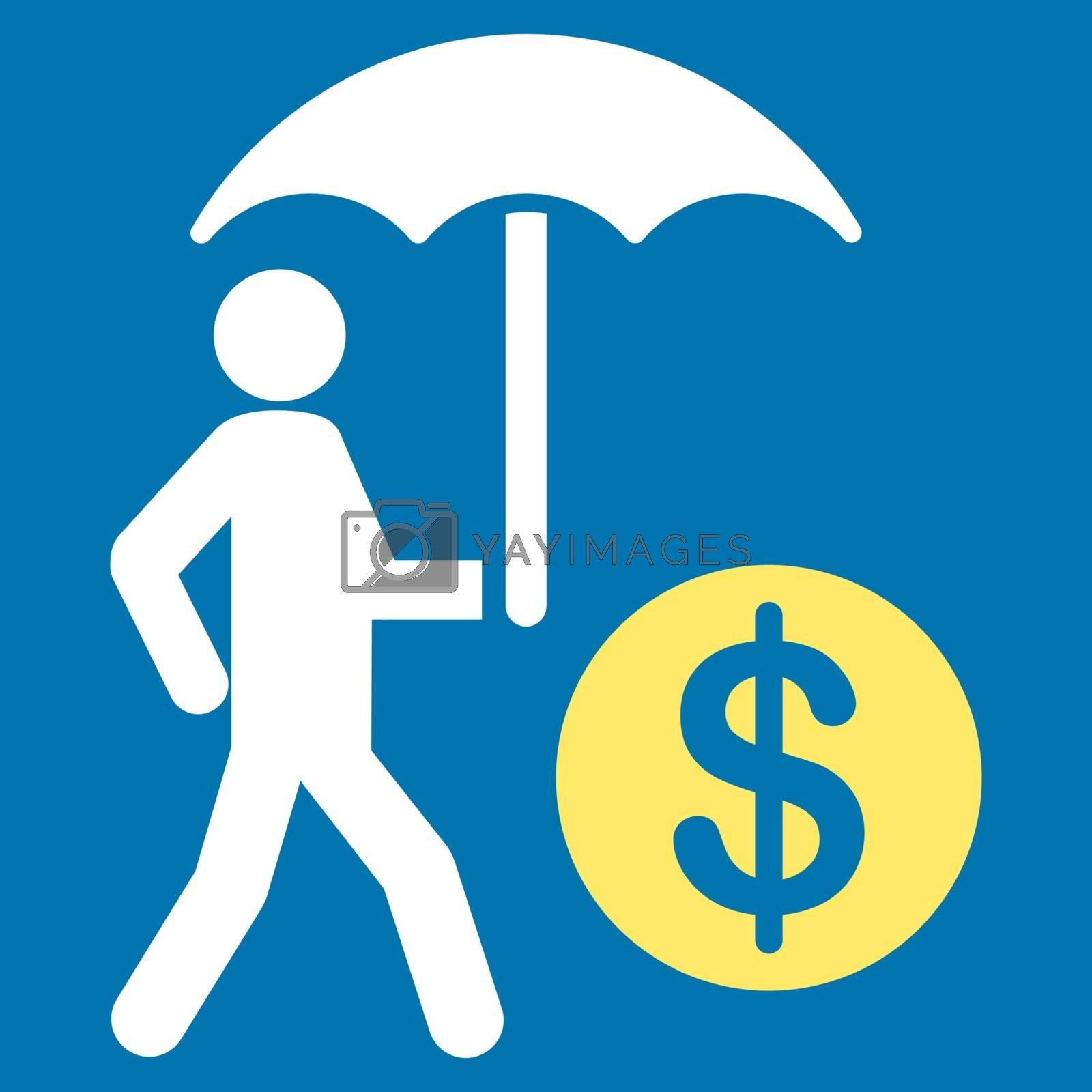 Financial insurance icon. Collection style is flat bicolor symbols, yellow and white colors, rounded angles, blue background.