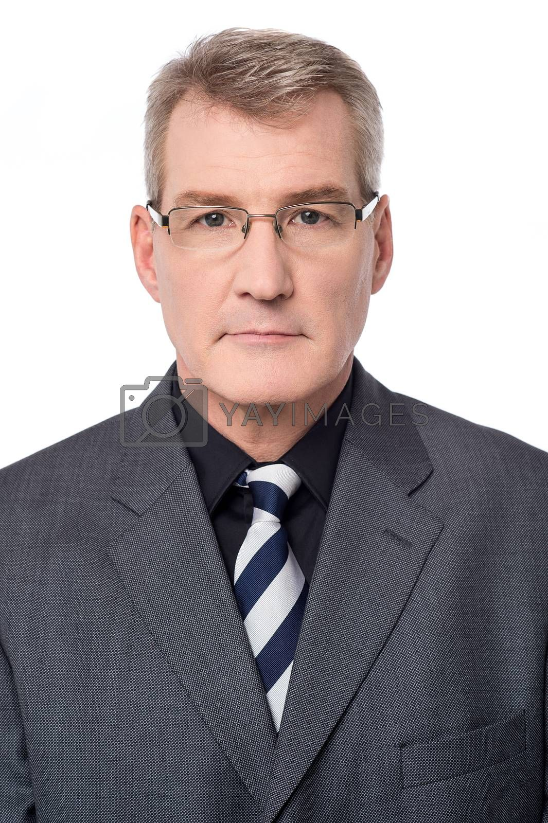Image of a confident business man over white