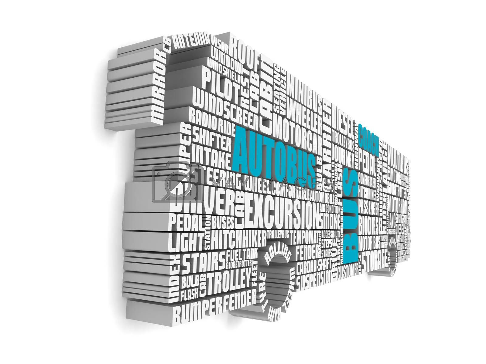 3d group of blue white words shaping a passenger bus by vipervxw