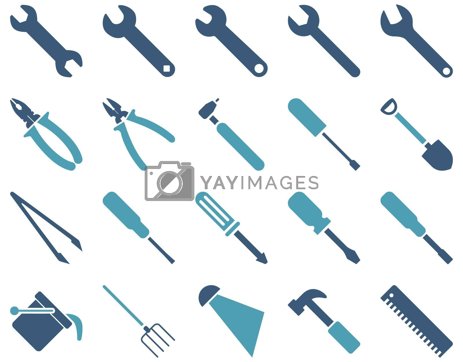 Equipment and Tools Icons. Icon set style is bicolor flat images, cyan and blue colors, isolated on a white background.