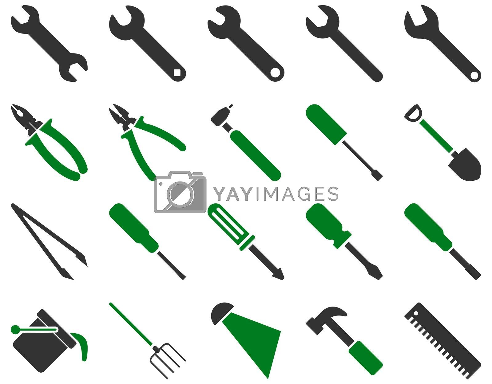 Equipment and Tools Icons. Icon set style is bicolor flat images, green and gray colors, isolated on a white background.