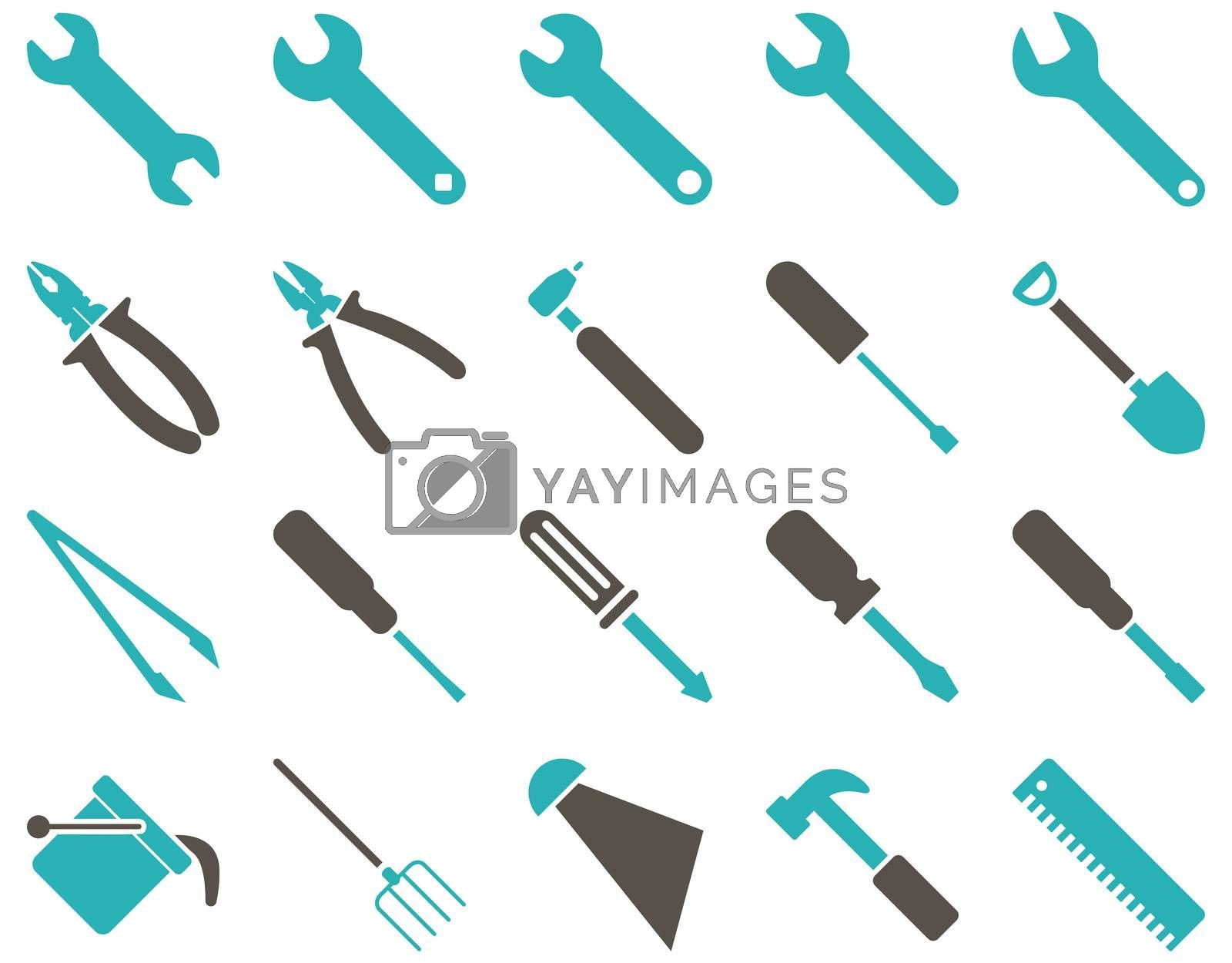 Equipment and Tools Icons. Icon set style is bicolor flat images, grey and cyan colors, isolated on a white background.