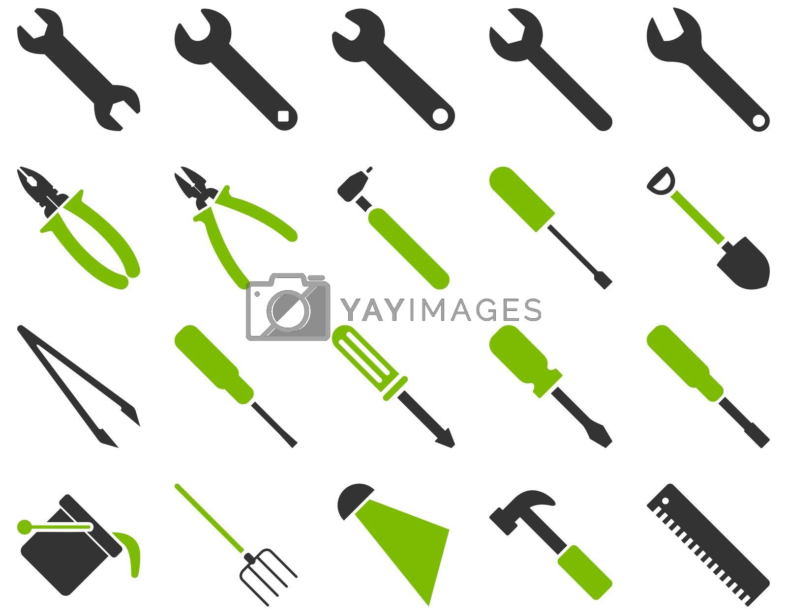 Equipment and Tools Icons. Icon set style is bicolor flat images, eco green and gray colors, isolated on a white background.